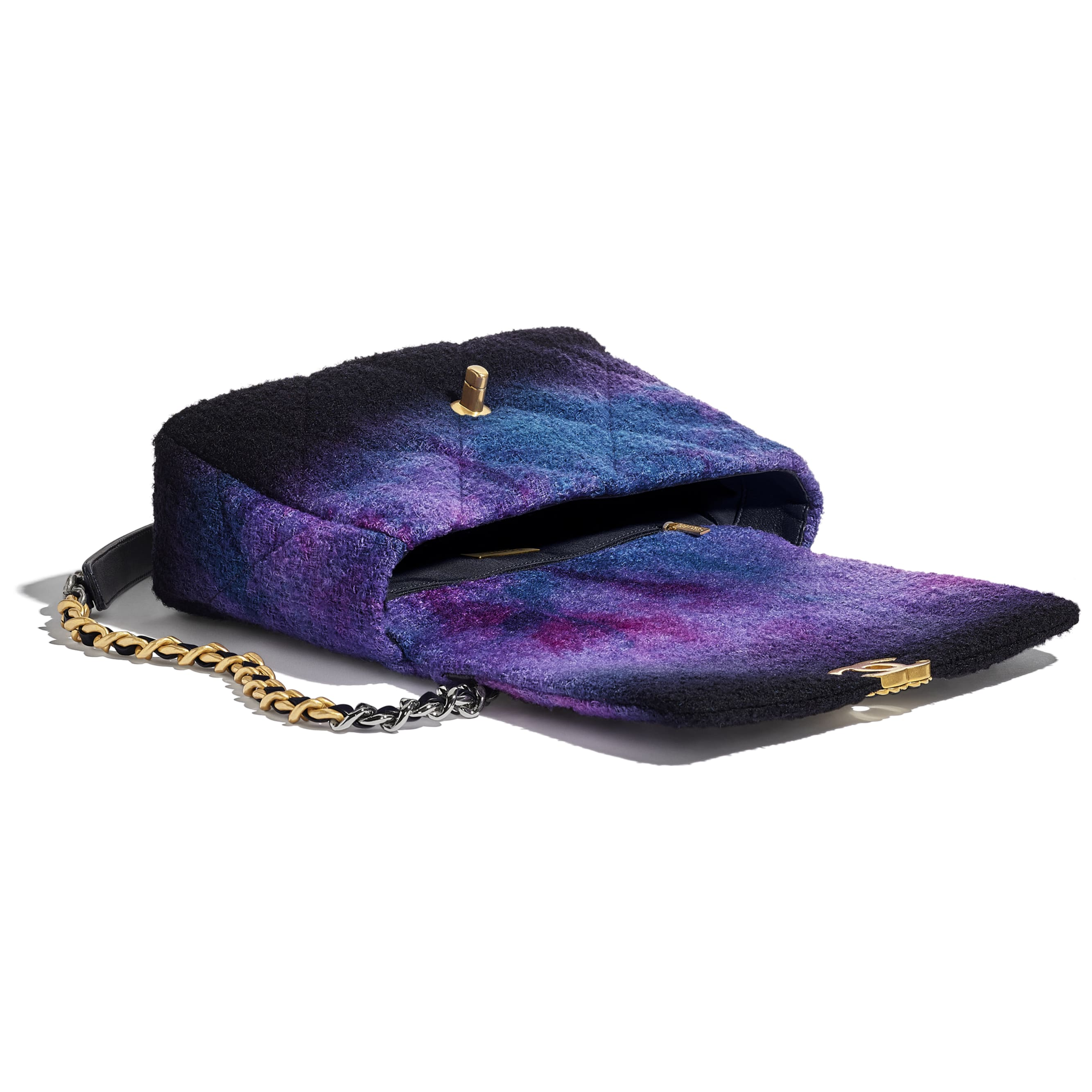 CHANEL 19 Large Flap Bag - Purple, Black & Blue - Wool Tweed, Gold-Tone, Silver-Tone & Ruthenium-Finish Metal - CHANEL - Other view - see standard sized version
