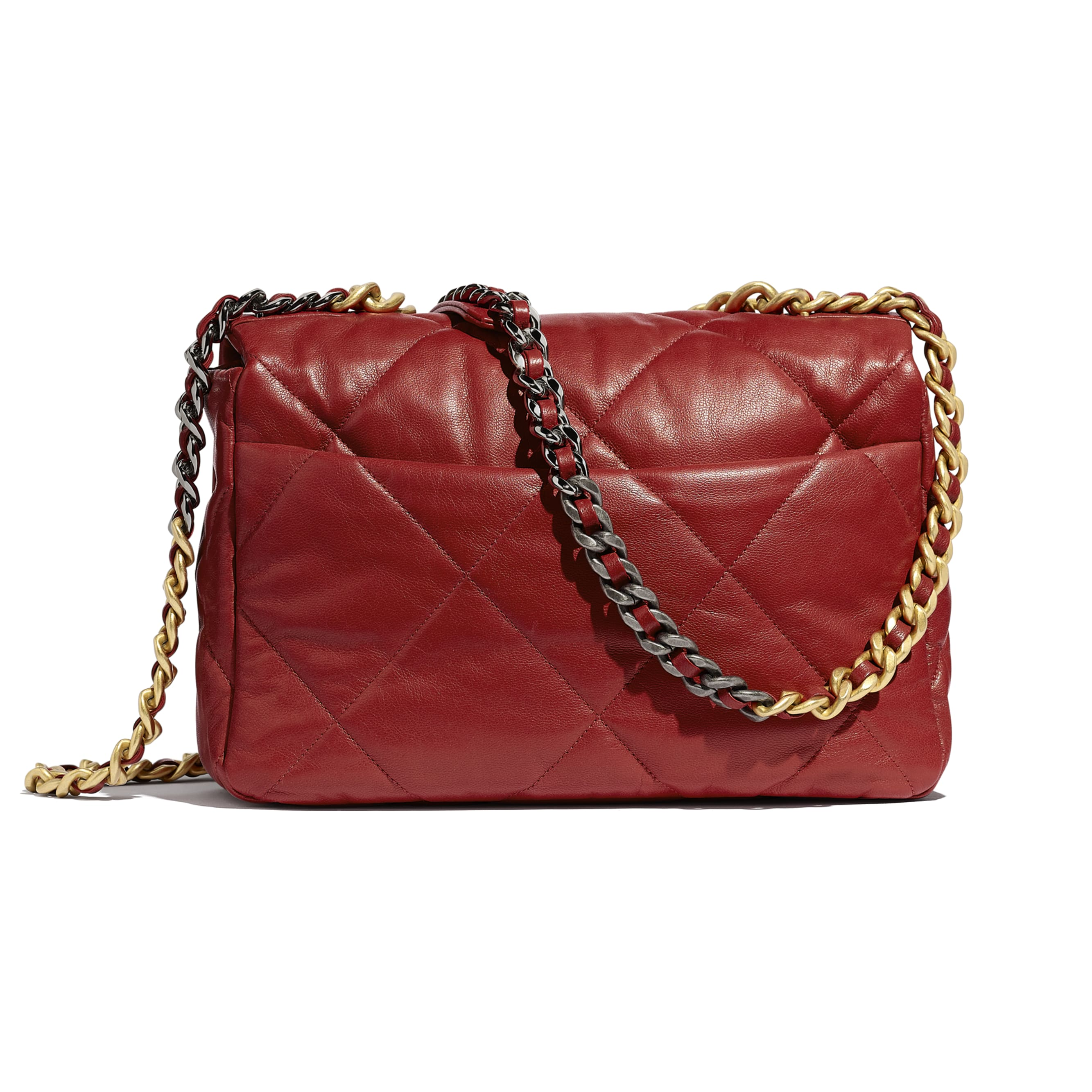 CHANEL 19 Large Flap Bag - Red - Goatskin, Gold-Tone, Silver-Tone & Ruthenium-Finish Metal - Alternative view - see standard sized version