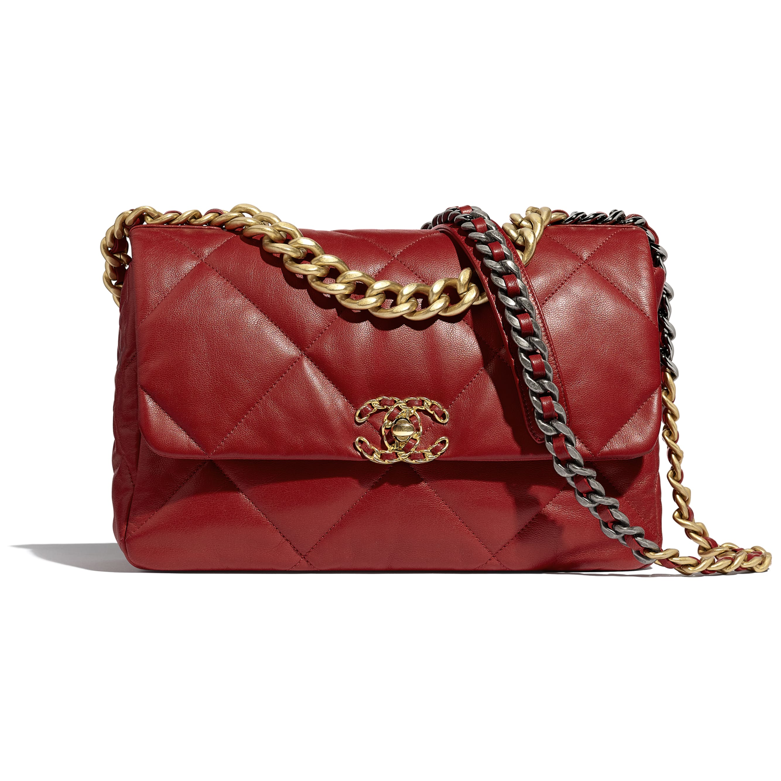 CHANEL 19 Large Flap Bag - Red - Goatskin, Gold-Tone, Silver-Tone & Ruthenium-Finish Metal - Default view - see standard sized version