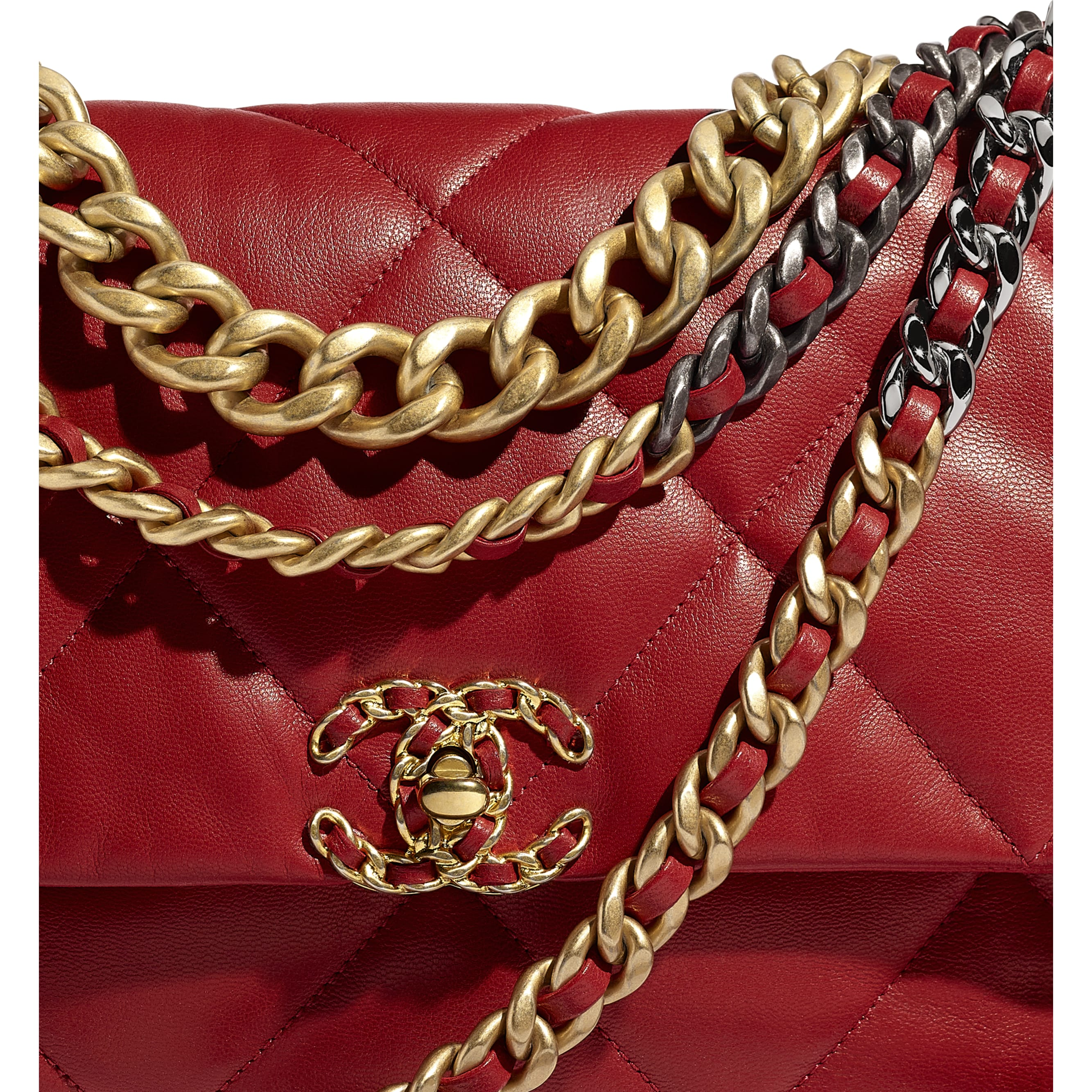 CHANEL 19 Large Flap Bag - Red - Goatskin, Gold-Tone, Silver-Tone & Ruthenium-Finish Metal - Extra view - see standard sized version