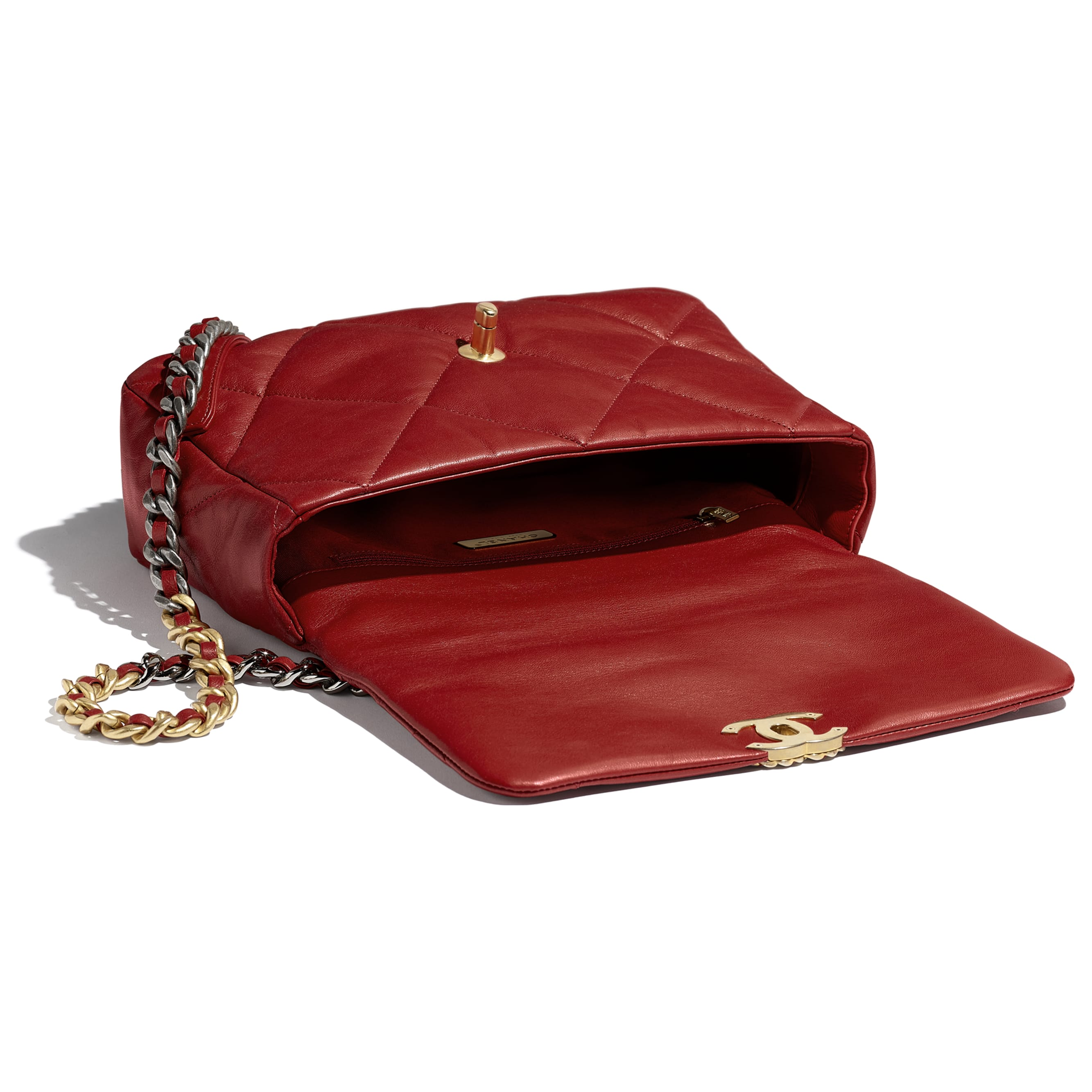 CHANEL 19 Large Flap Bag - Red - Goatskin, Gold-Tone, Silver-Tone & Ruthenium-Finish Metal - Other view - see standard sized version