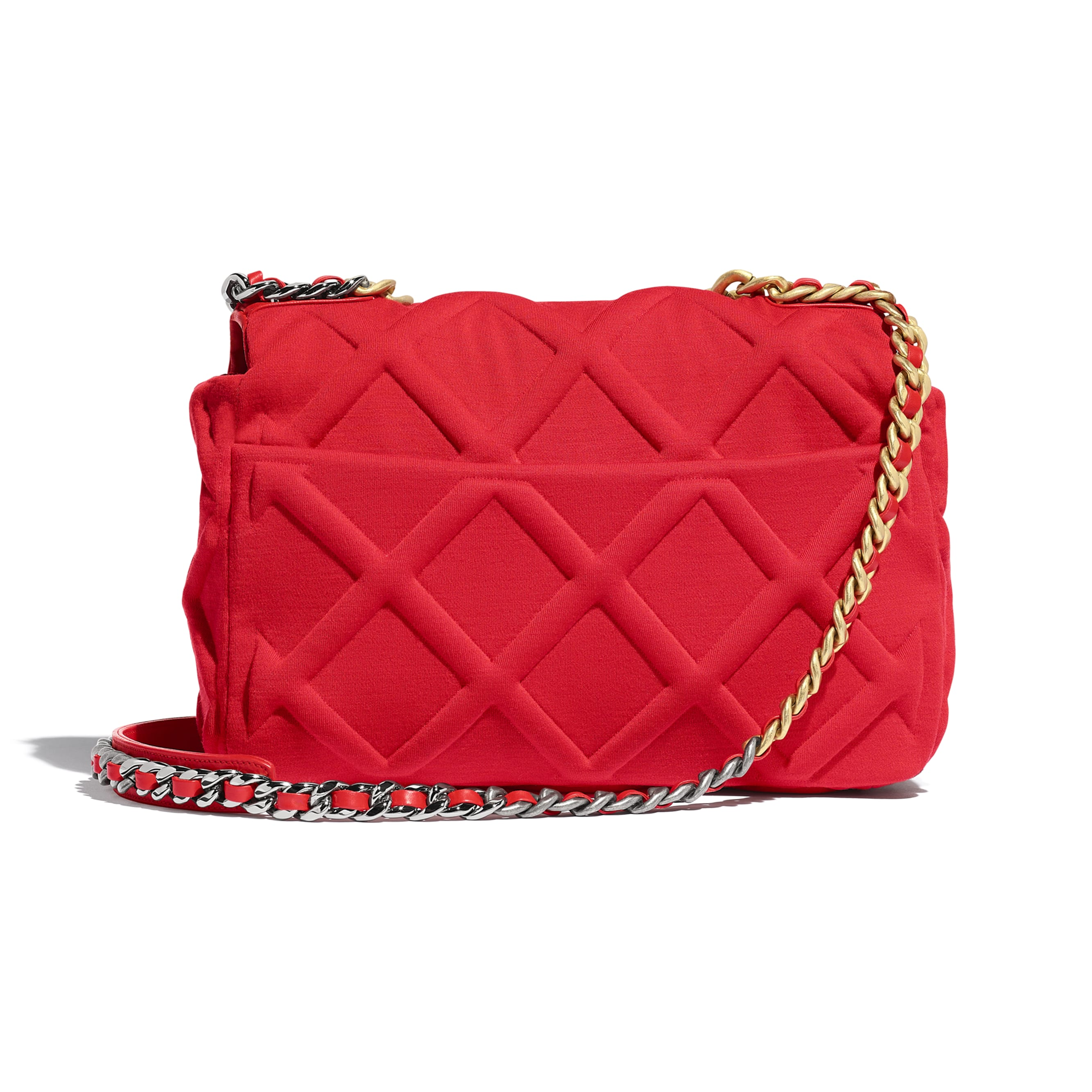 CHANEL 19 Large Flap Bag - Red - Jersey, Gold-Tone, Silver-Tone & Ruthenium-Finish Metal - Alternative view - see standard sized version