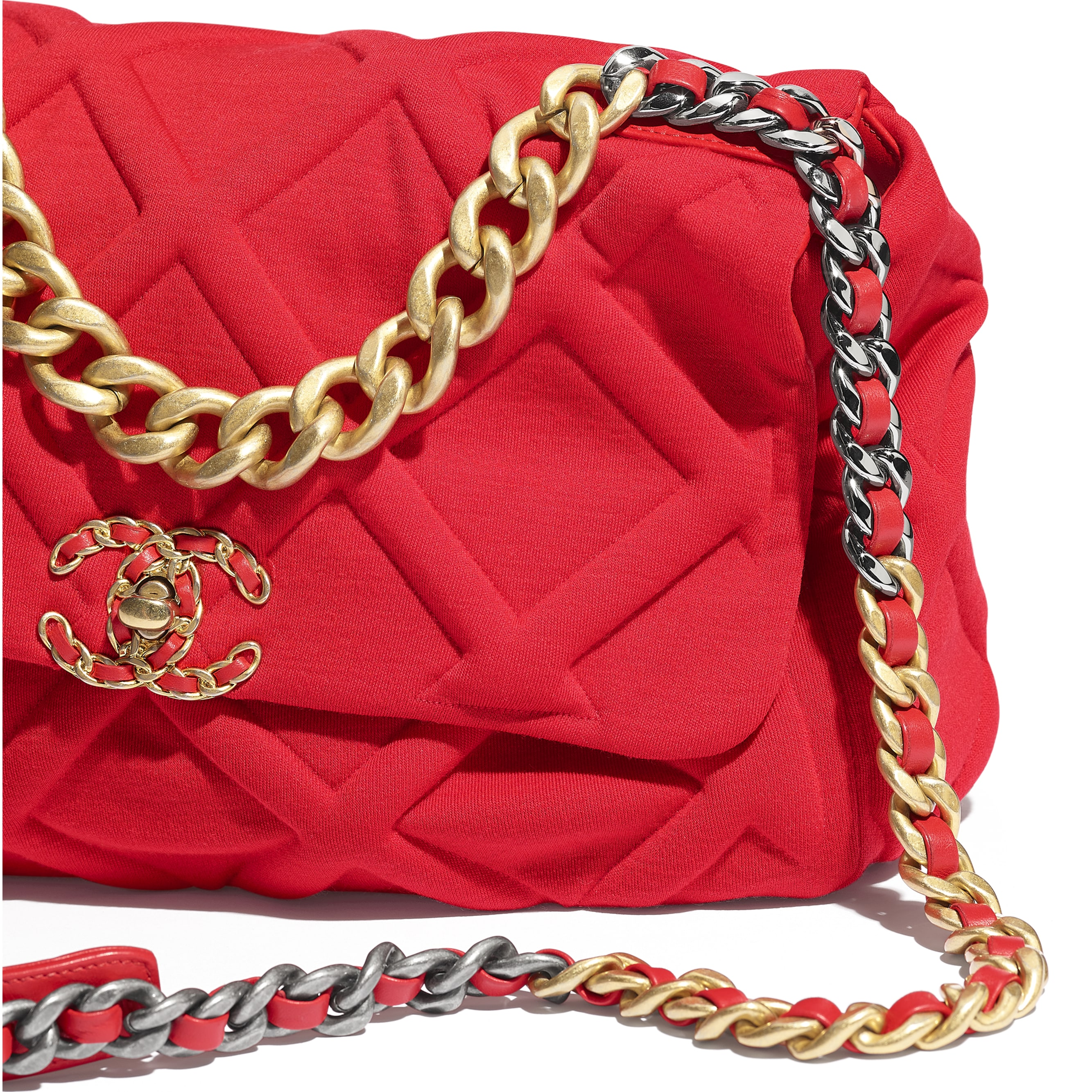 CHANEL 19 Large Flap Bag - Red - Jersey, Gold-Tone, Silver-Tone & Ruthenium-Finish Metal - Extra view - see standard sized version