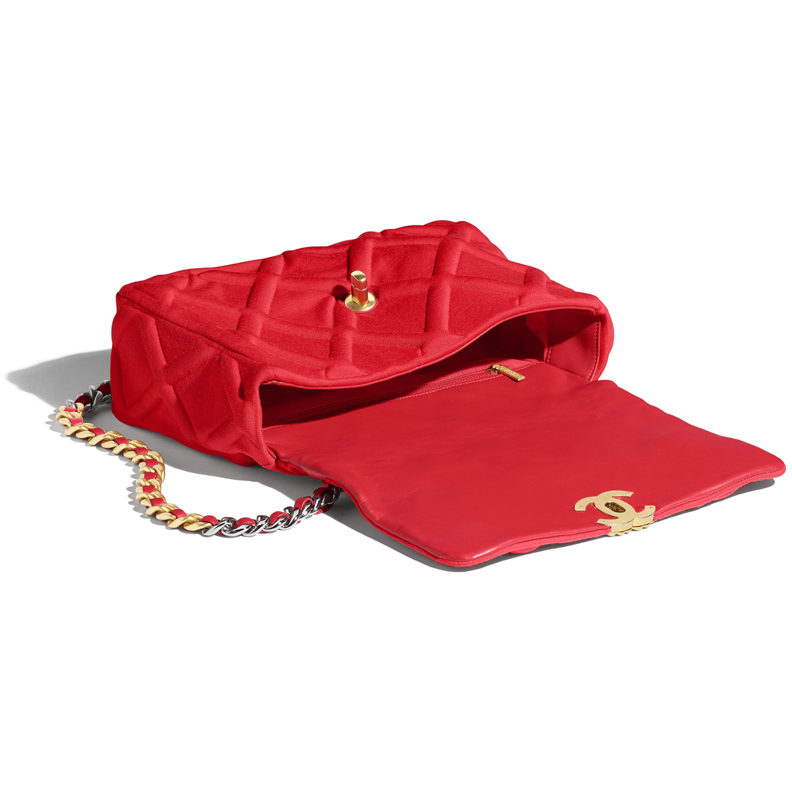 CHANEL 19 Large Flap Bag - Red - Jersey, Gold-Tone, Silver-Tone & Ruthenium-Finish Metal - Other view - see standard sized version