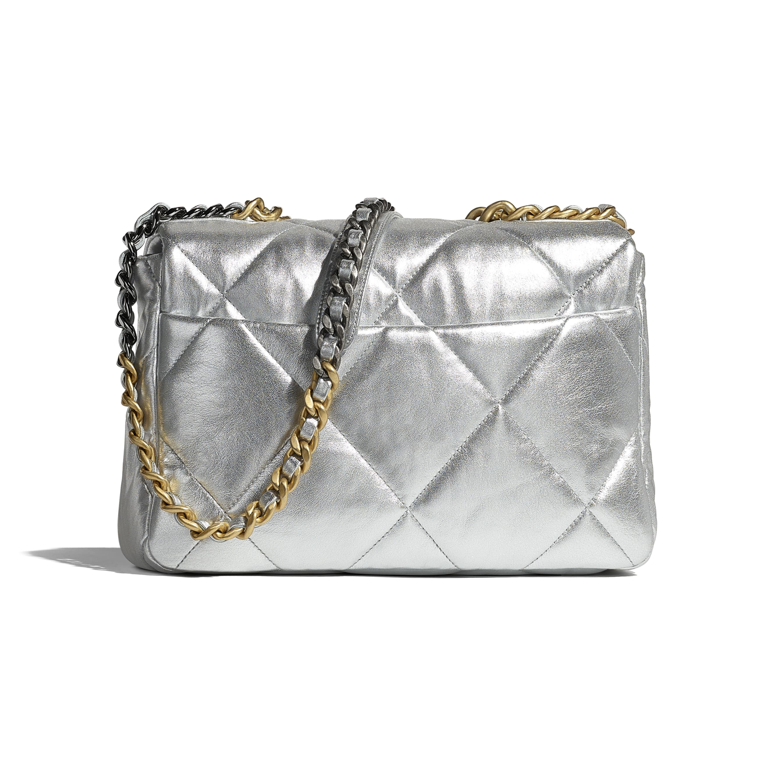 CHANEL 19 Large Flap Bag - Silver - Metallic Lambskin, Gold-Tone, Silver-Tone & Ruthenium-Finish Metal - CHANEL - Alternative view - see standard sized version