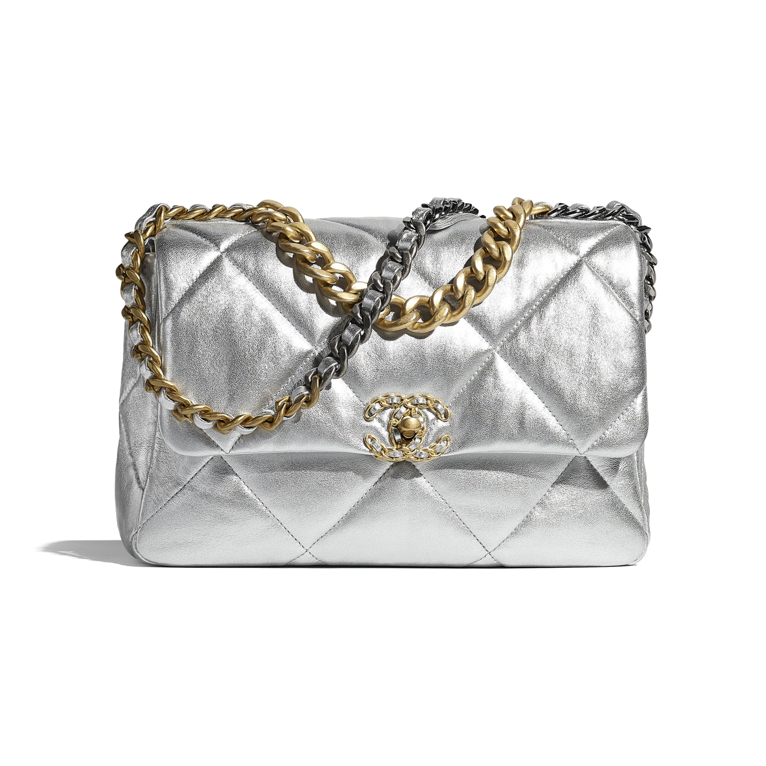 CHANEL 19 Large Flap Bag - Silver - Metallic Lambskin, Gold-Tone, Silver-Tone & Ruthenium-Finish Metal - CHANEL - Default view - see standard sized version