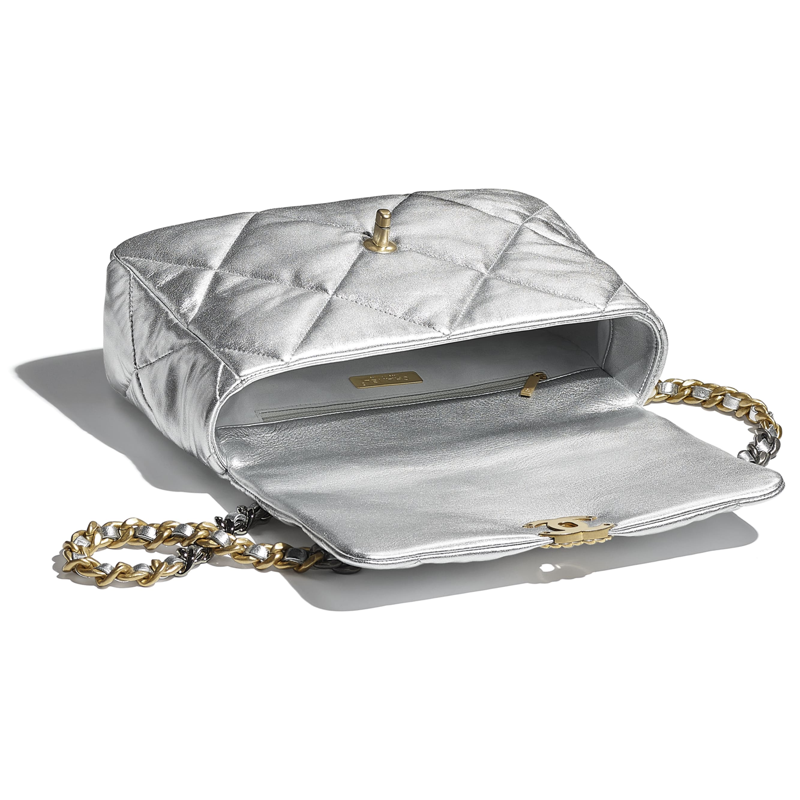 CHANEL 19 Large Flap Bag - Silver - Metallic Lambskin, Gold-Tone, Silver-Tone & Ruthenium-Finish Metal - CHANEL - Other view - see standard sized version