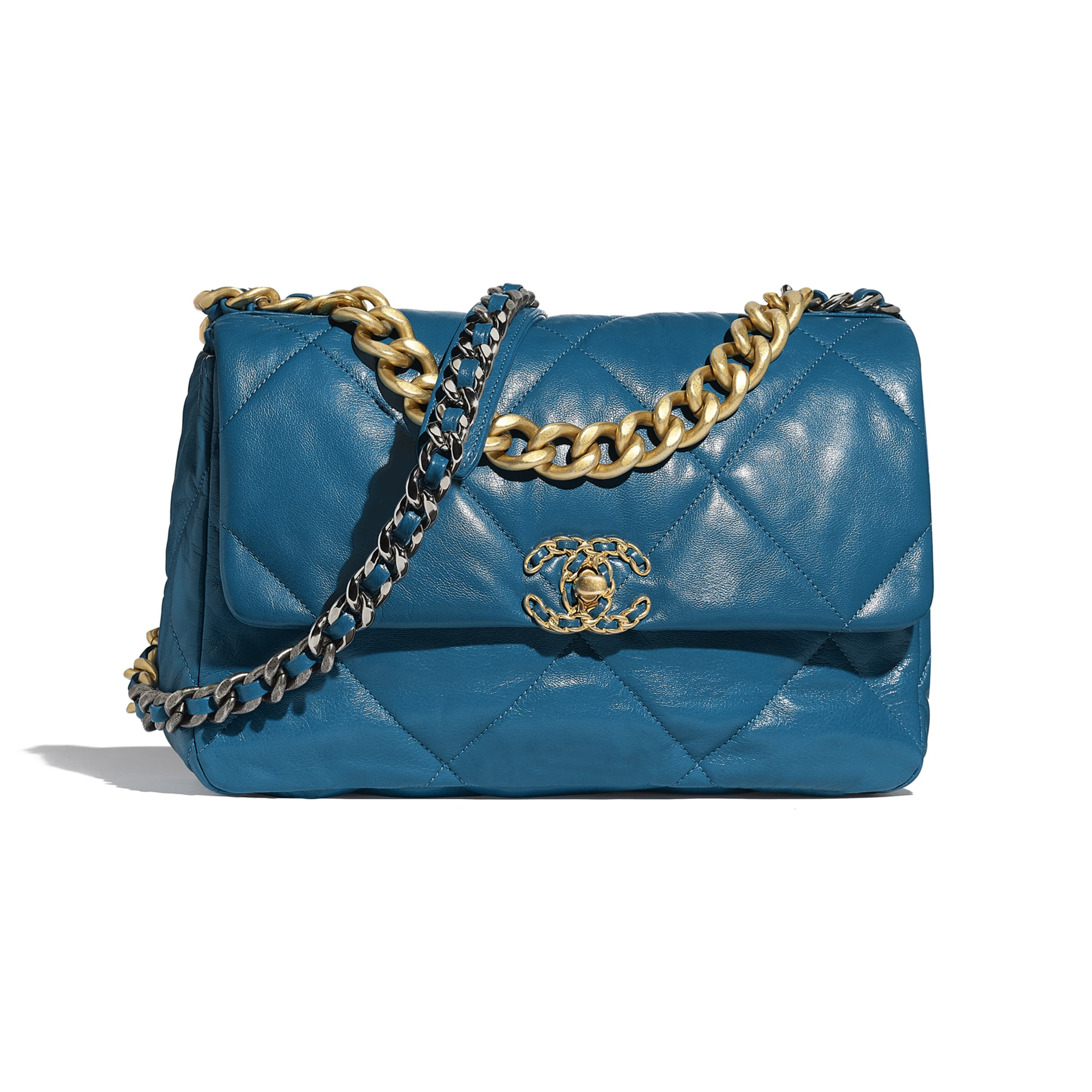 CHANEL 19 Large Flap Bag - Turquoise - Goatskin, Gold-Tone, Silver-Tone & Ruthenium-Finish Metal - Default view - see standard sized version