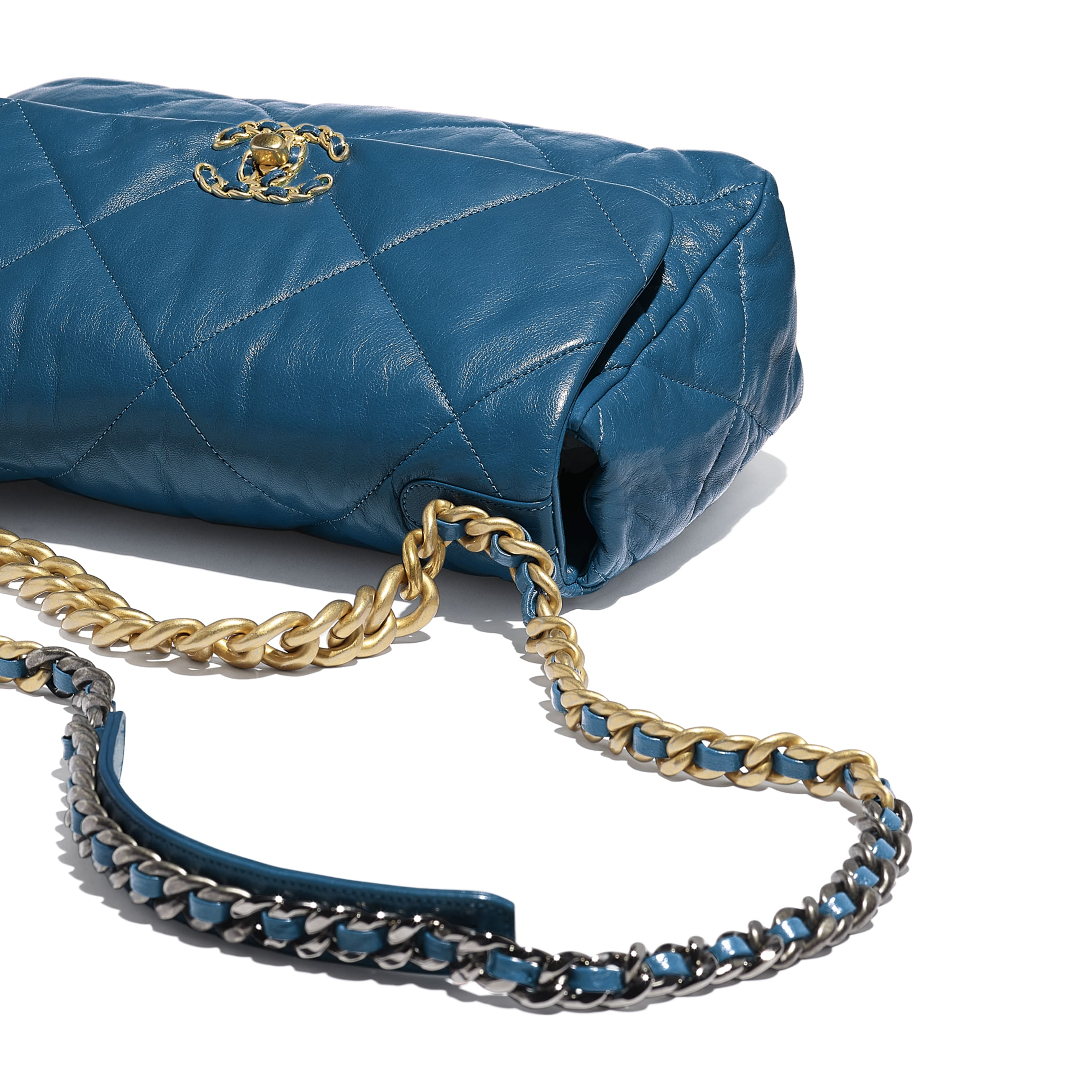 CHANEL 19 Large Flap Bag - Turquoise - Goatskin, Gold-Tone, Silver-Tone & Ruthenium-Finish Metal - Extra view - see standard sized version
