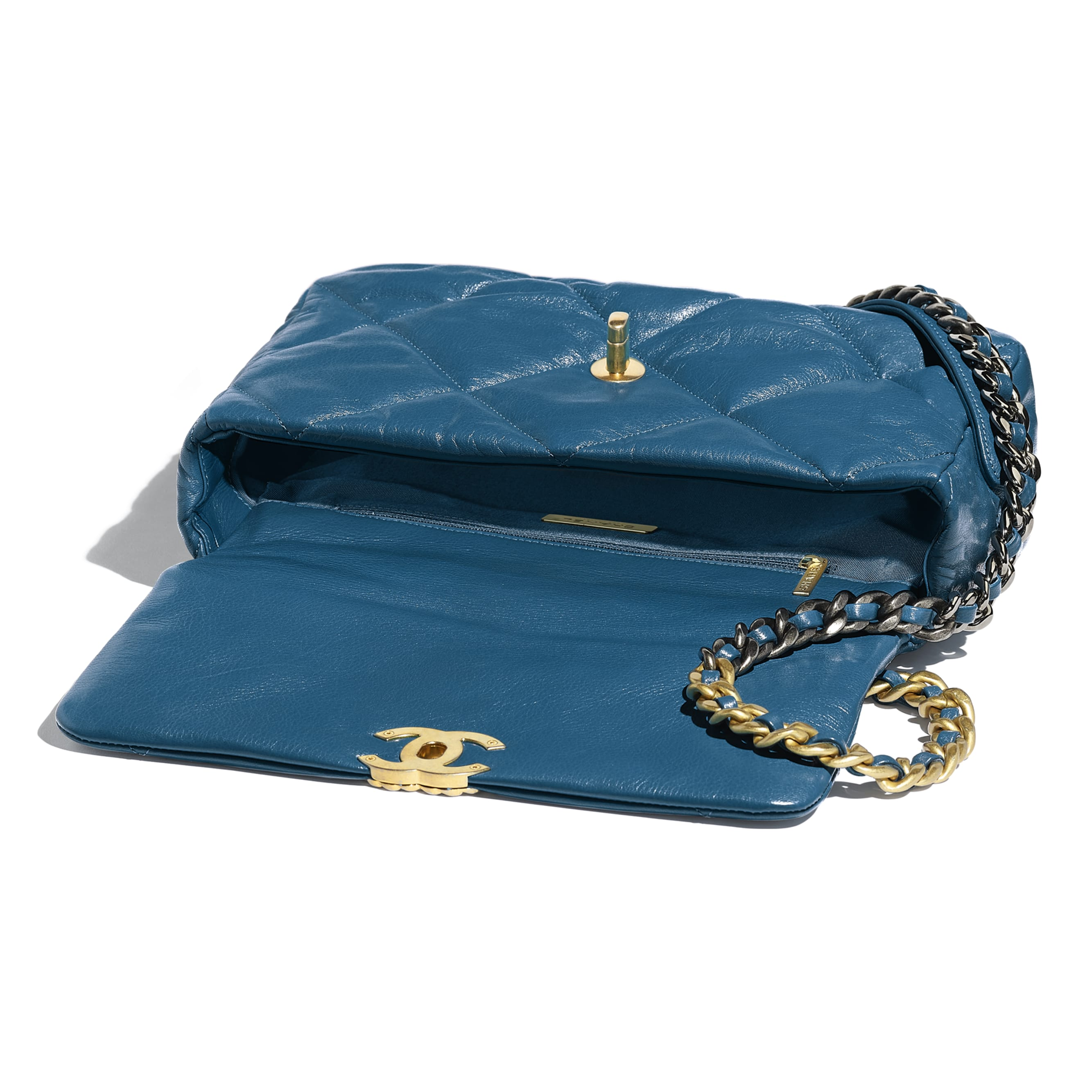 CHANEL 19 Large Flap Bag - Turquoise - Goatskin, Gold-Tone, Silver-Tone & Ruthenium-Finish Metal - Other view - see standard sized version