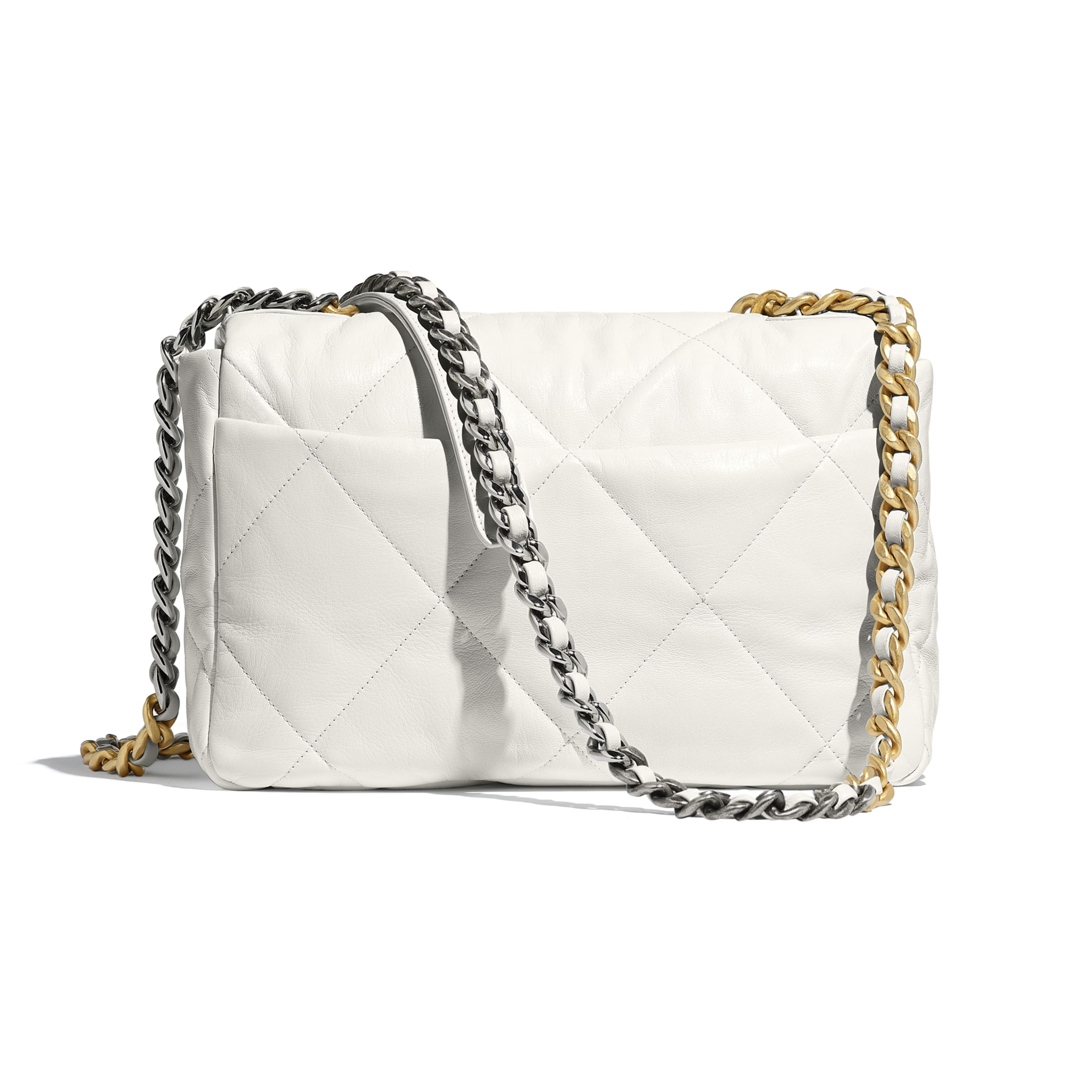 CHANEL 19 Large Flap Bag - White - Goatskin, Gold-Tone, Silver-Tone & Ruthenium-Finish Metal - Alternative view - see standard sized version