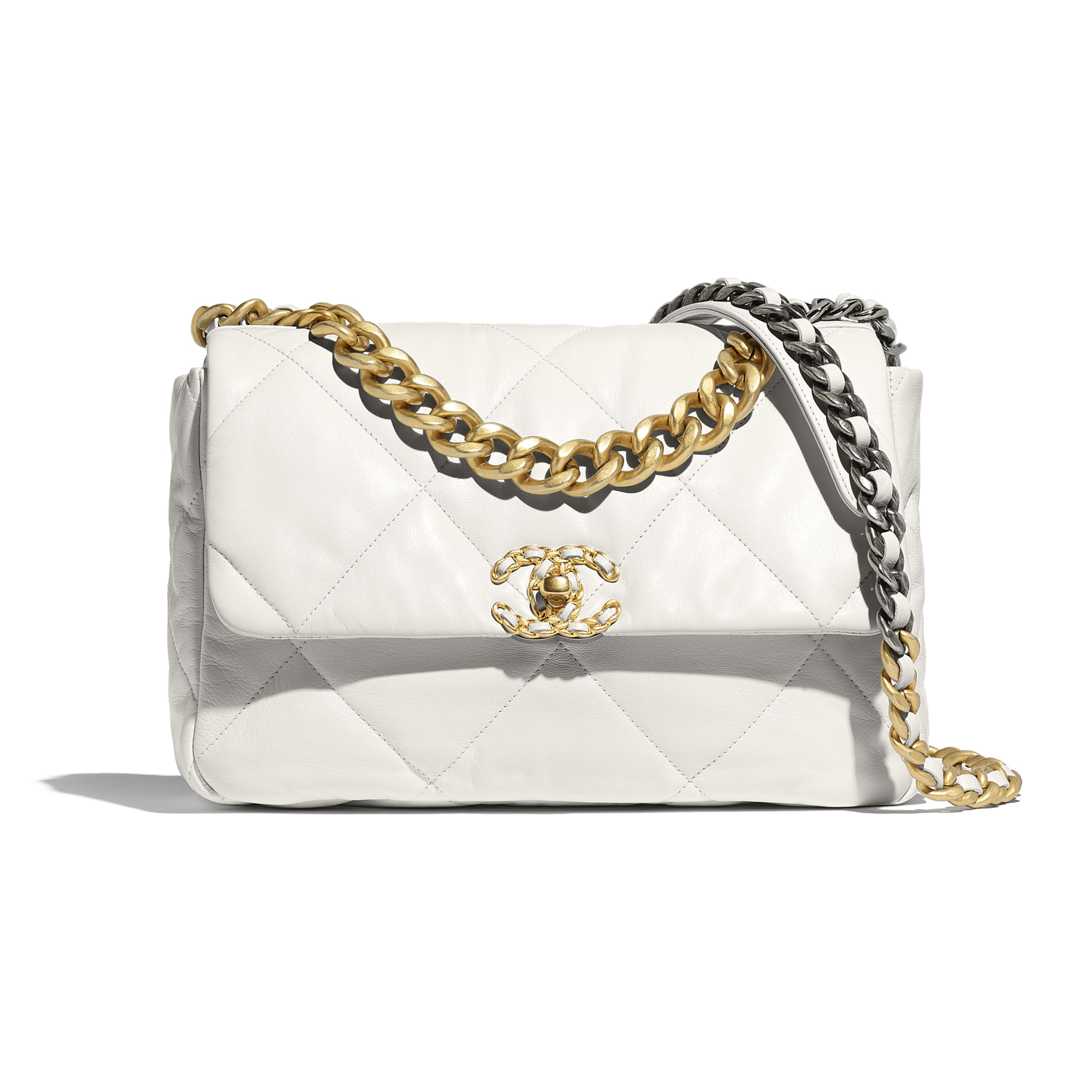 CHANEL 19 Large Flap Bag - White - Goatskin, Gold-Tone, Silver-Tone & Ruthenium-Finish Metal - Default view - see standard sized version