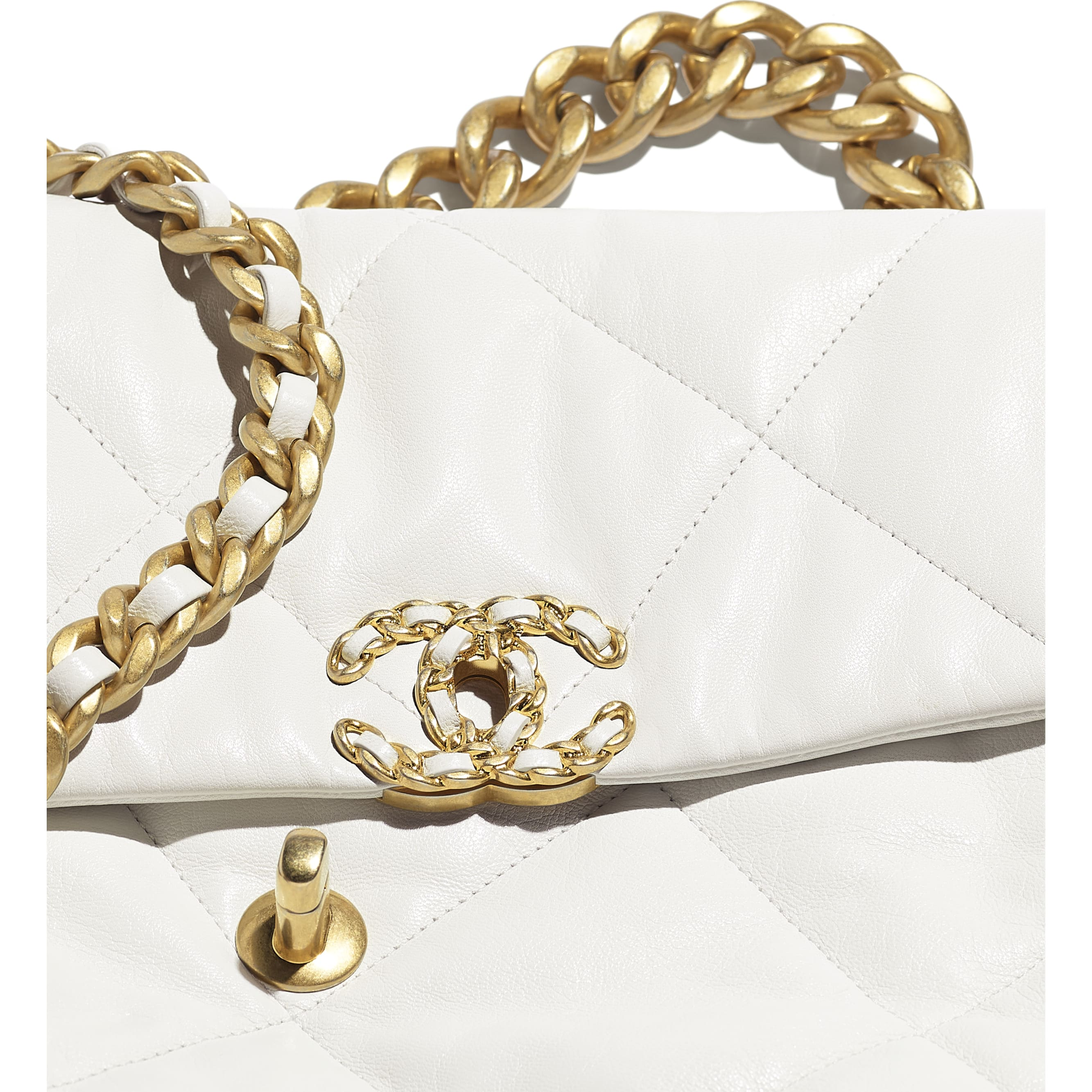 CHANEL 19 Large Flap Bag - White - Goatskin, Gold-Tone, Silver-Tone & Ruthenium-Finish Metal - Extra view - see standard sized version
