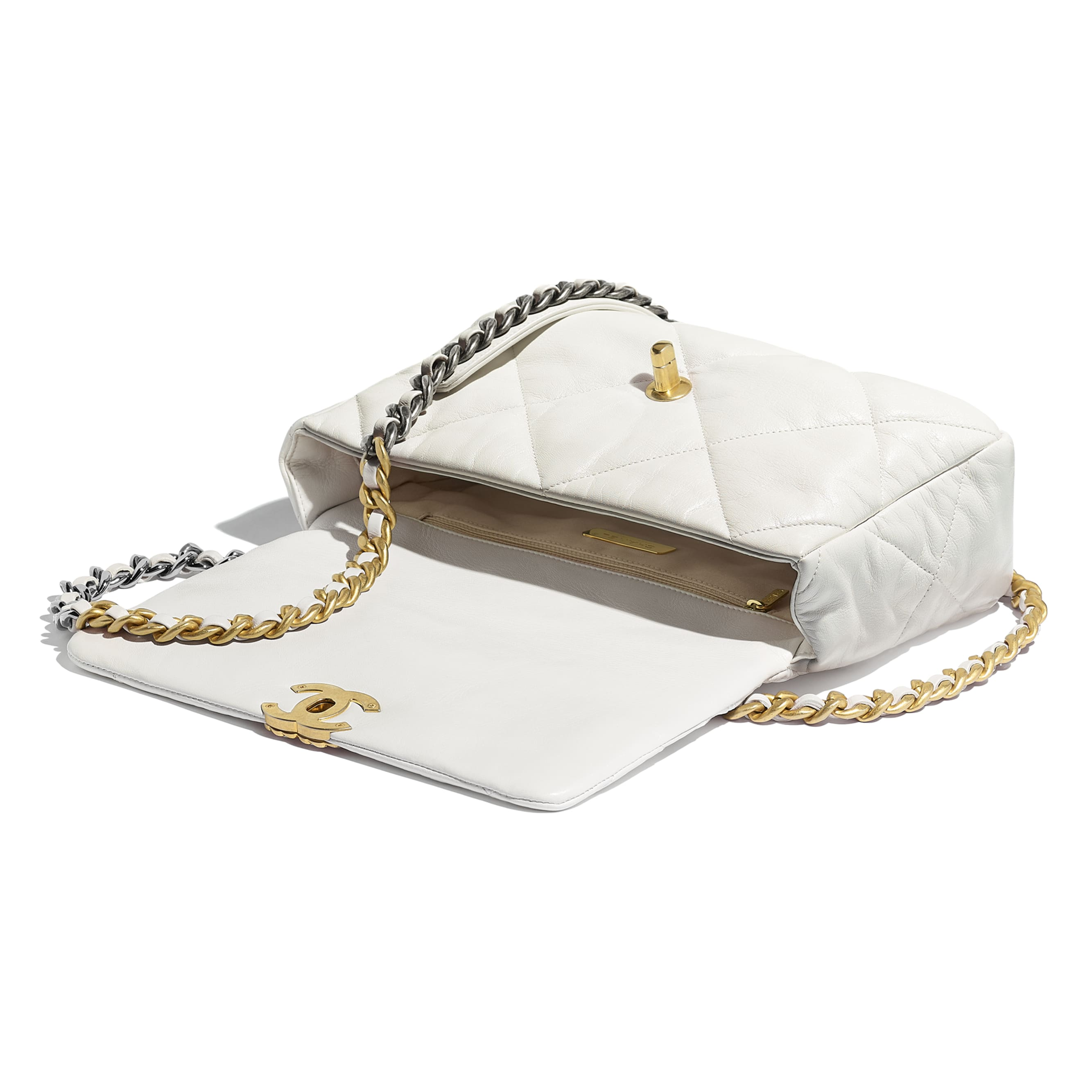 CHANEL 19 Large Flap Bag - White - Goatskin, Gold-Tone, Silver-Tone & Ruthenium-Finish Metal - Other view - see standard sized version