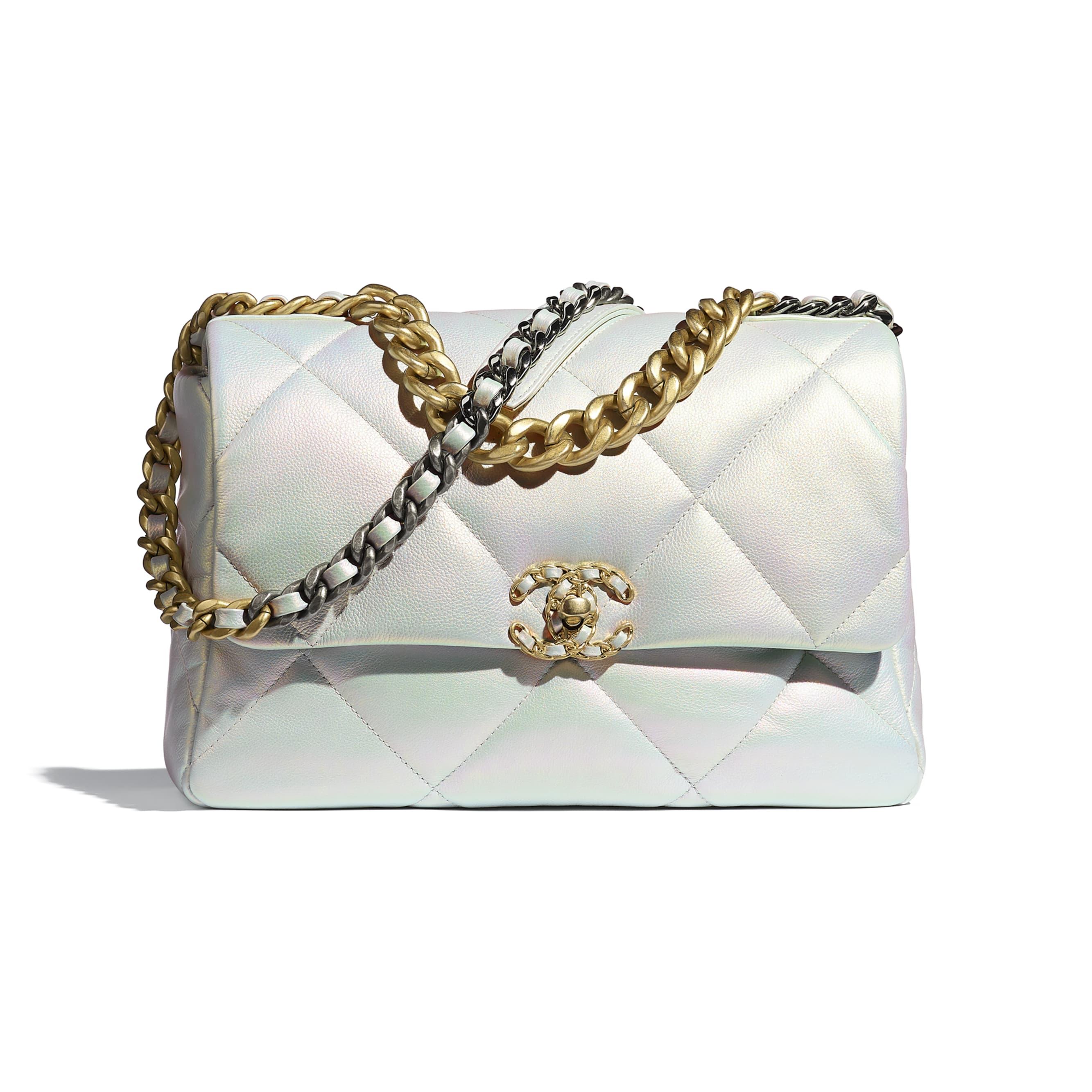 Grand sac à rabat CHANEL 19 - Blanc - Veau irisé, métal doré, argenté & finition ruthénium - CHANEL - Vue par défaut - voir la version taille standard