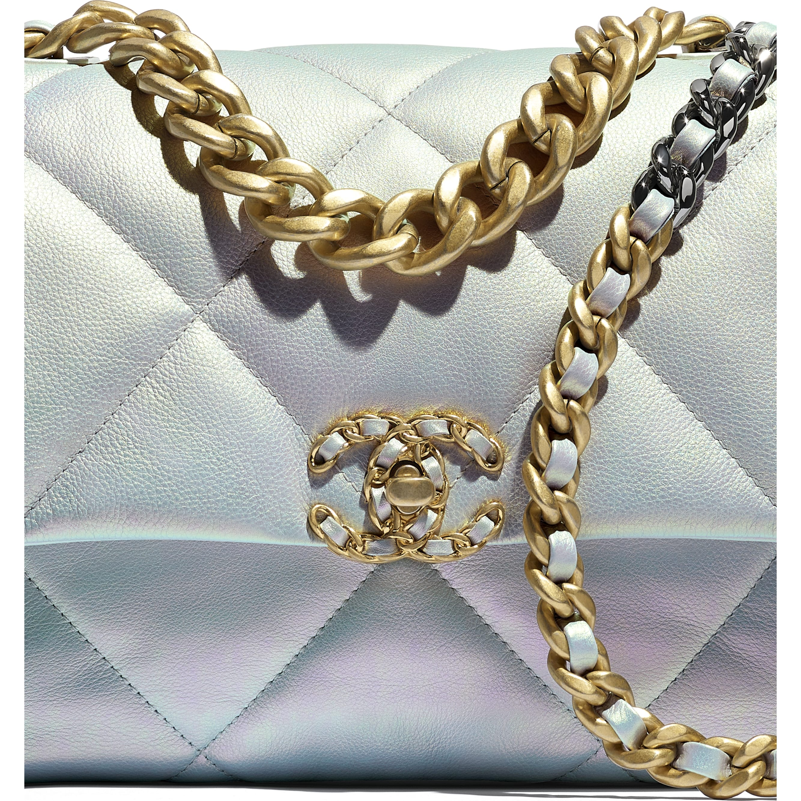 CHANEL 19 Large Flap Bag - White - Iridescent Calfskin, Gold-Tone, Silver-Tone & Ruthenium-Finish Metal - CHANEL - Extra view - see standard sized version