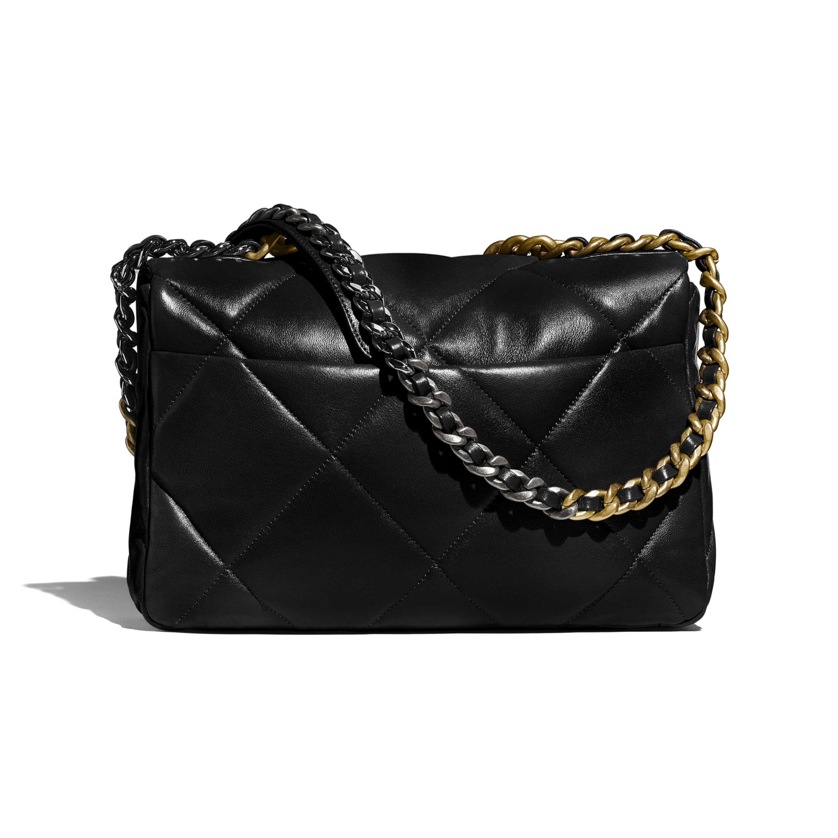 CHANEL 19 Large Handbag - Black - Lambskin, Gold-Tone, Silver-Tone & Ruthenium-Finish Metal - CHANEL - Alternative view - see standard sized version