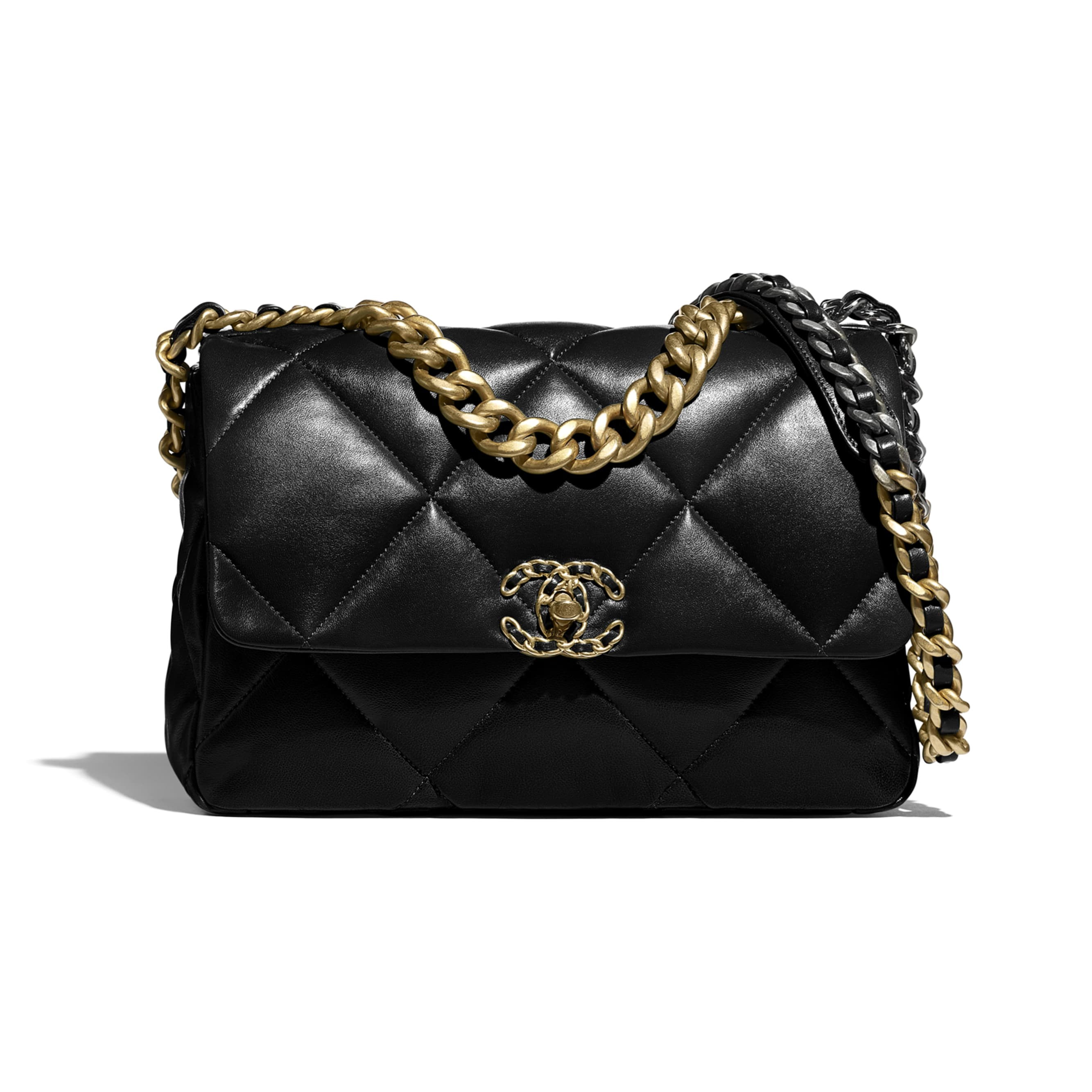 CHANEL 19 Large Handbag - Black - Lambskin, Gold-Tone, Silver-Tone & Ruthenium-Finish Metal - CHANEL - Default view - see standard sized version