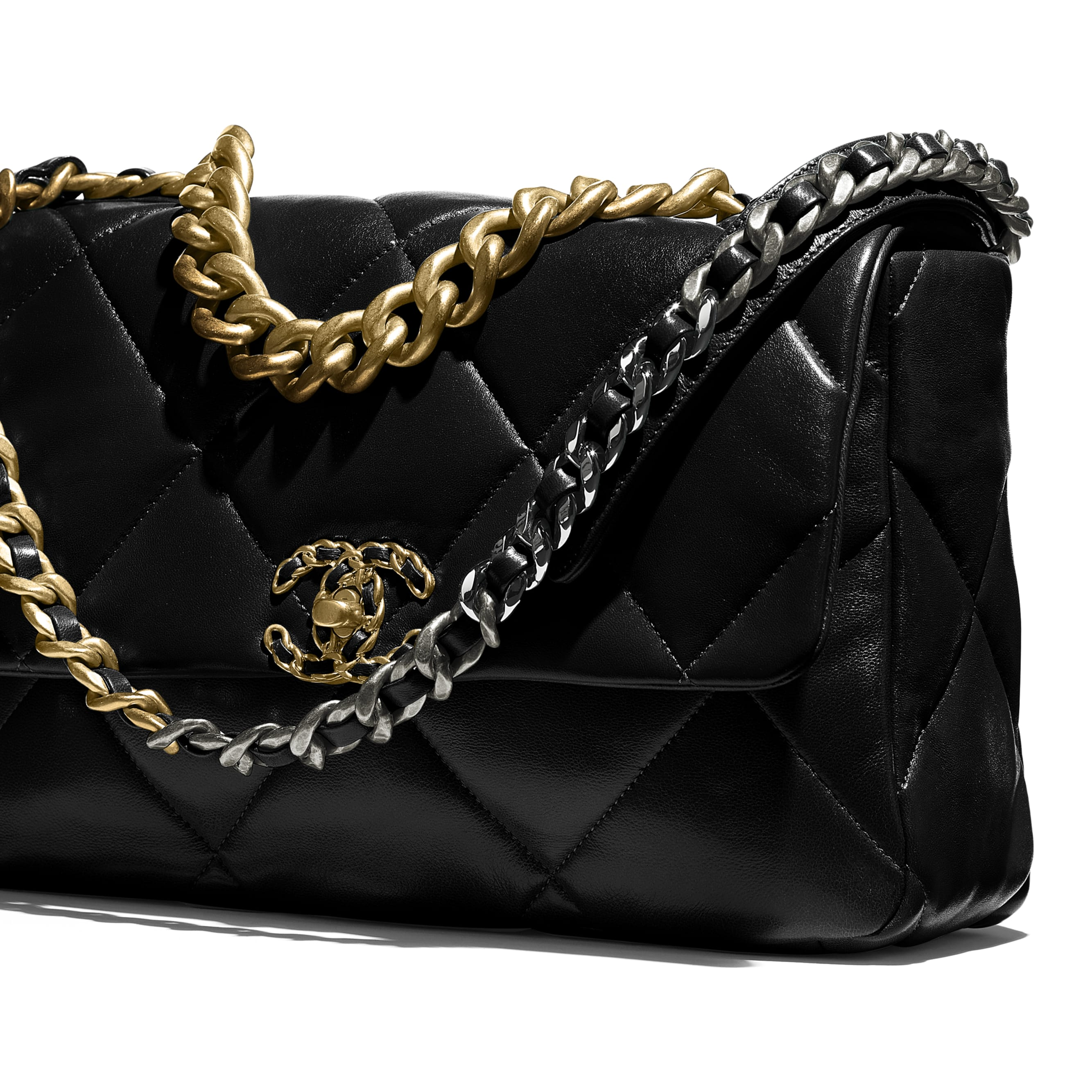 CHANEL 19 Large Handbag - Black - Lambskin, Gold-Tone, Silver-Tone & Ruthenium-Finish Metal - CHANEL - Extra view - see standard sized version