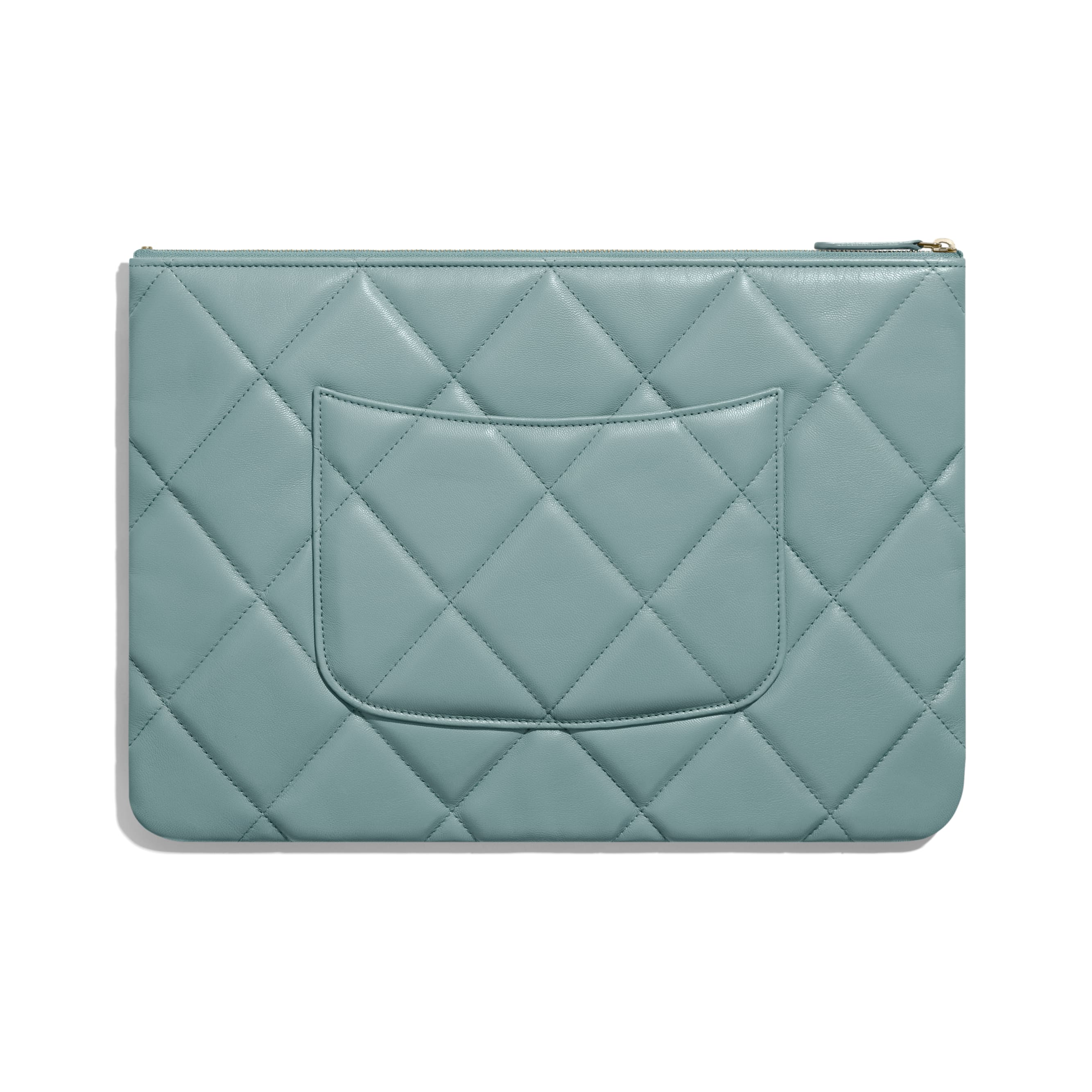 CHANEL 19 Large Pouch - Blue - Shiny Goatskin, Gold-Tone, Silver-Tone & Ruthenium-Finish Metal - Alternative view - see standard sized version