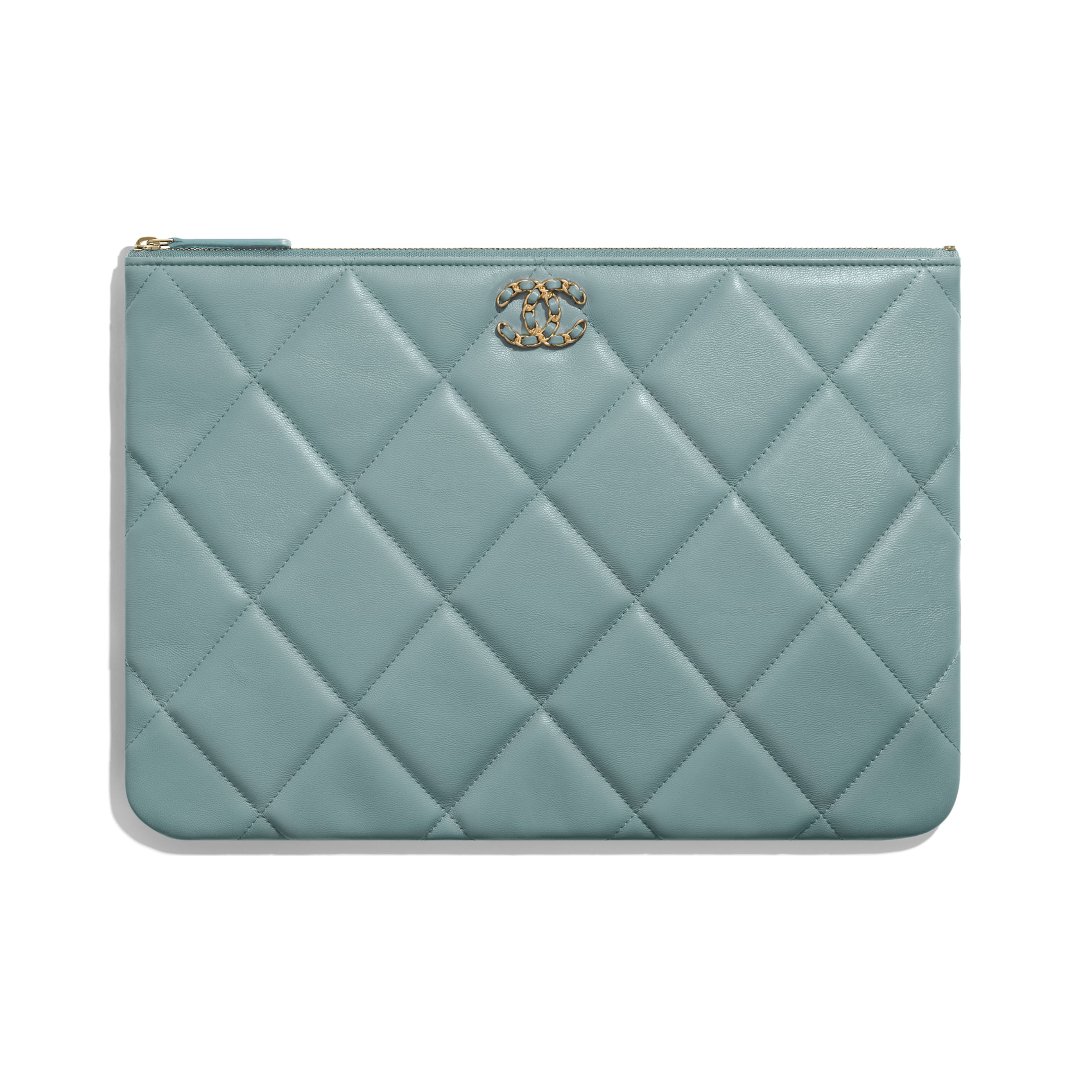 CHANEL 19 Large Pouch - Blue - Shiny Goatskin, Gold-Tone, Silver-Tone & Ruthenium-Finish Metal - Default view - see standard sized version