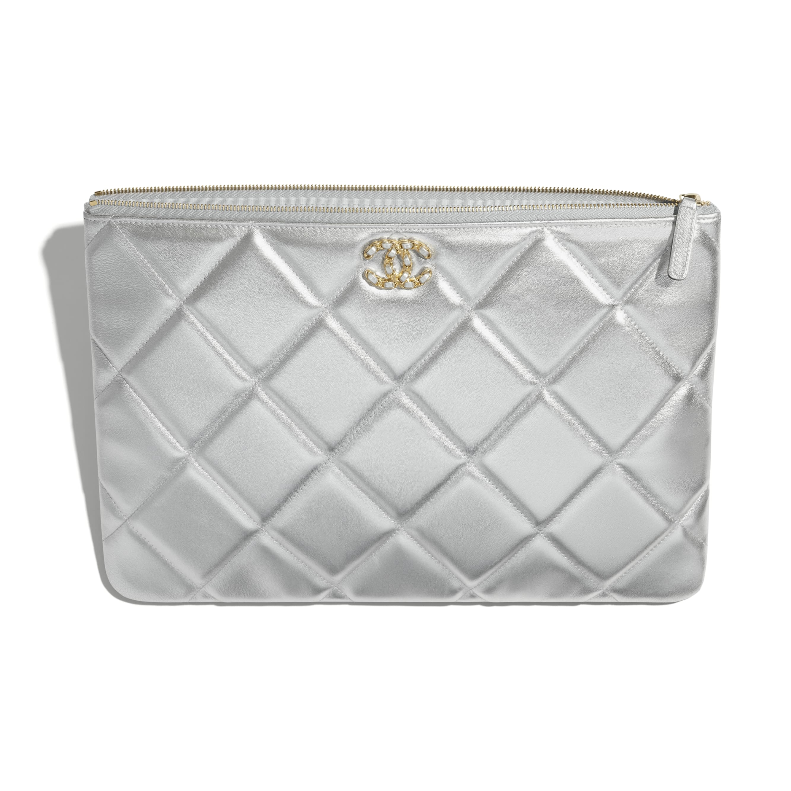 CHANEL 19 Large Pouch - Silver - Metallic Lambskin, Gold-Tone, Silver-Tone & Ruthenium-Finish Metal - CHANEL - Alternative view - see standard sized version