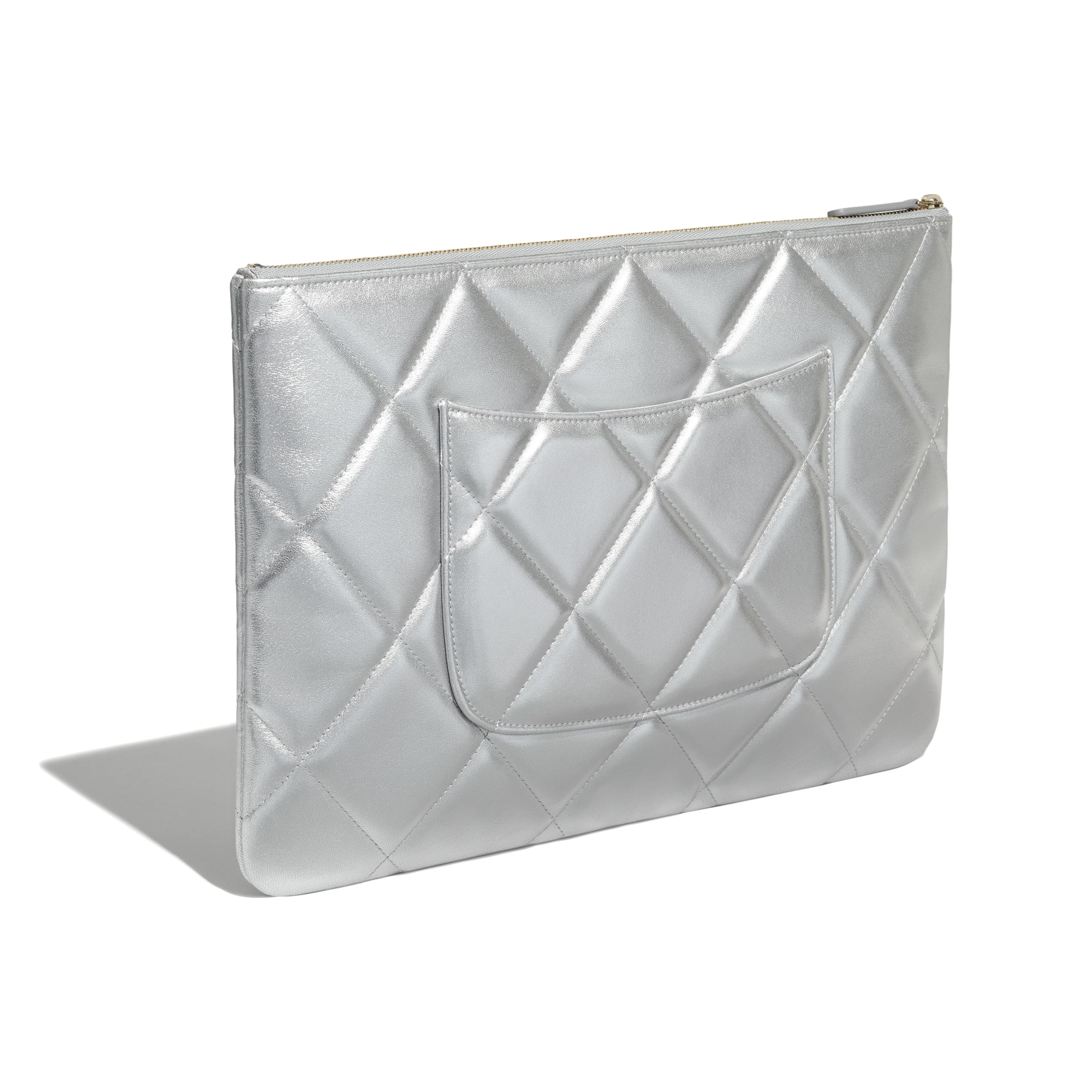 CHANEL 19 Large Pouch - Silver - Metallic Lambskin, Gold-Tone, Silver-Tone & Ruthenium-Finish Metal - CHANEL - Extra view - see standard sized version