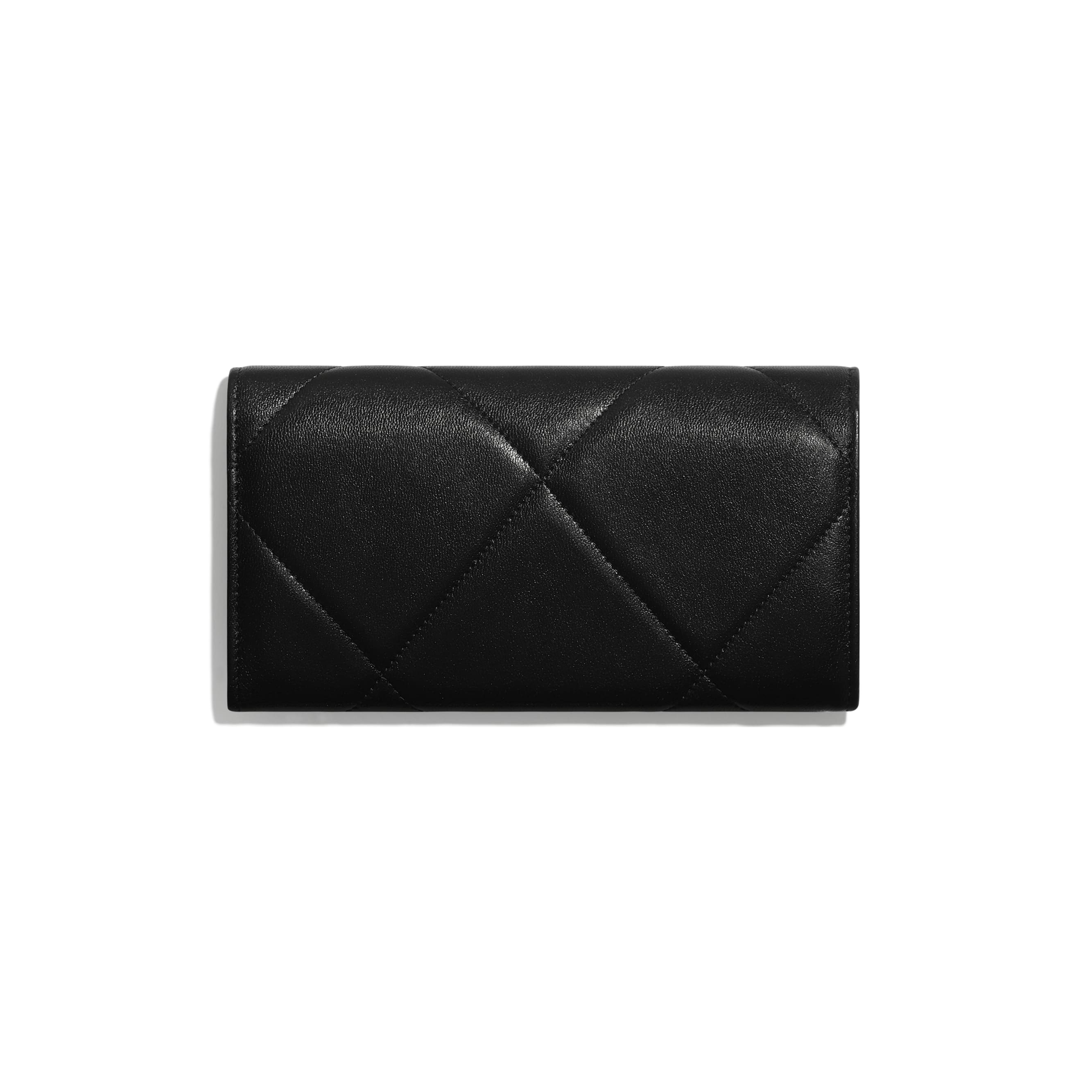 CHANEL 19 Long Flap Wallet - Black - Lambskin, Gold-Tone, Silver-Tone & Ruthenium-Finish Metal - Alternative view - see standard sized version