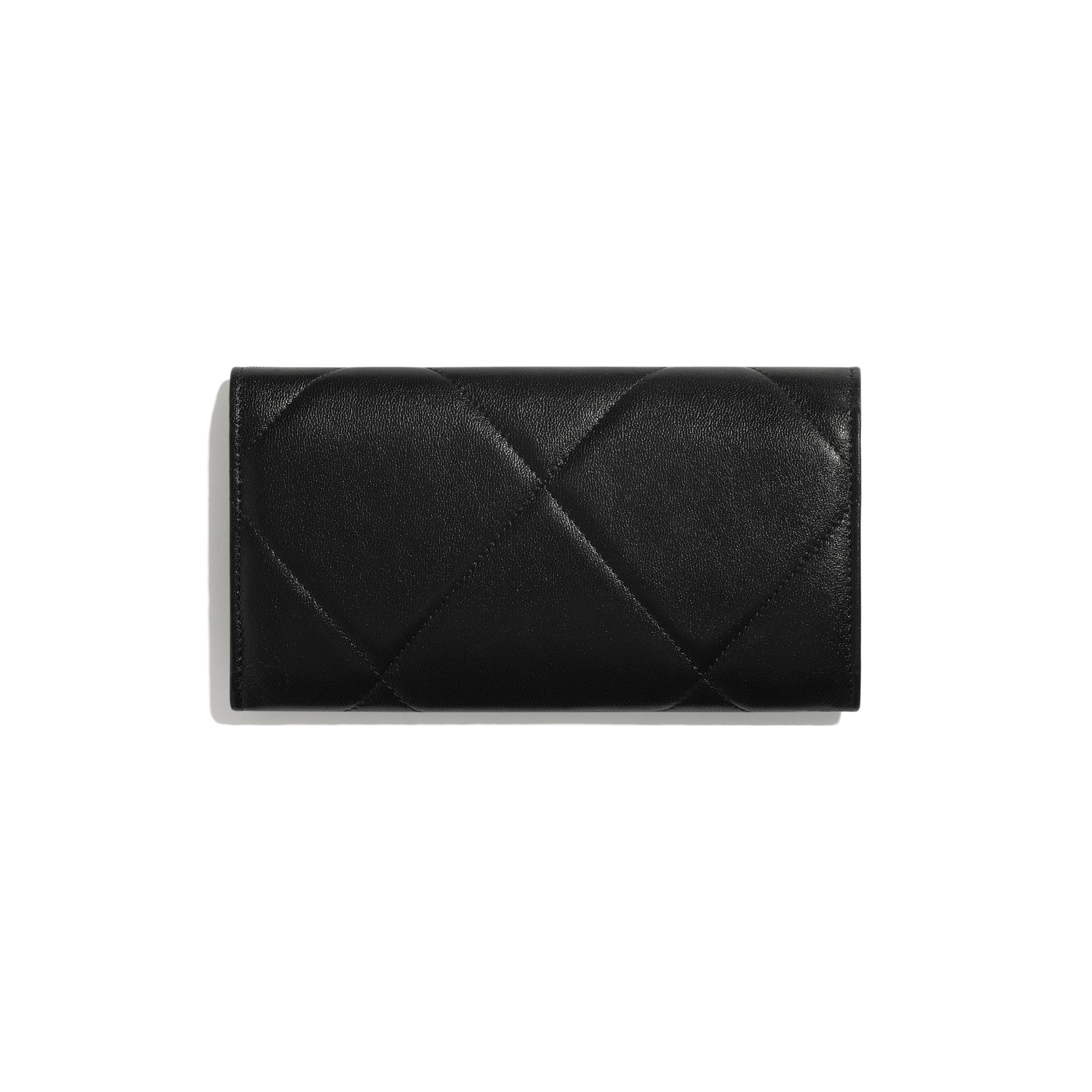 CHANEL 19 Long Flap Wallet - Black - Lambskin, Gold-Tone, Silver-Tone & Ruthenium-Finish Metal - CHANEL - Alternative view - see standard sized version