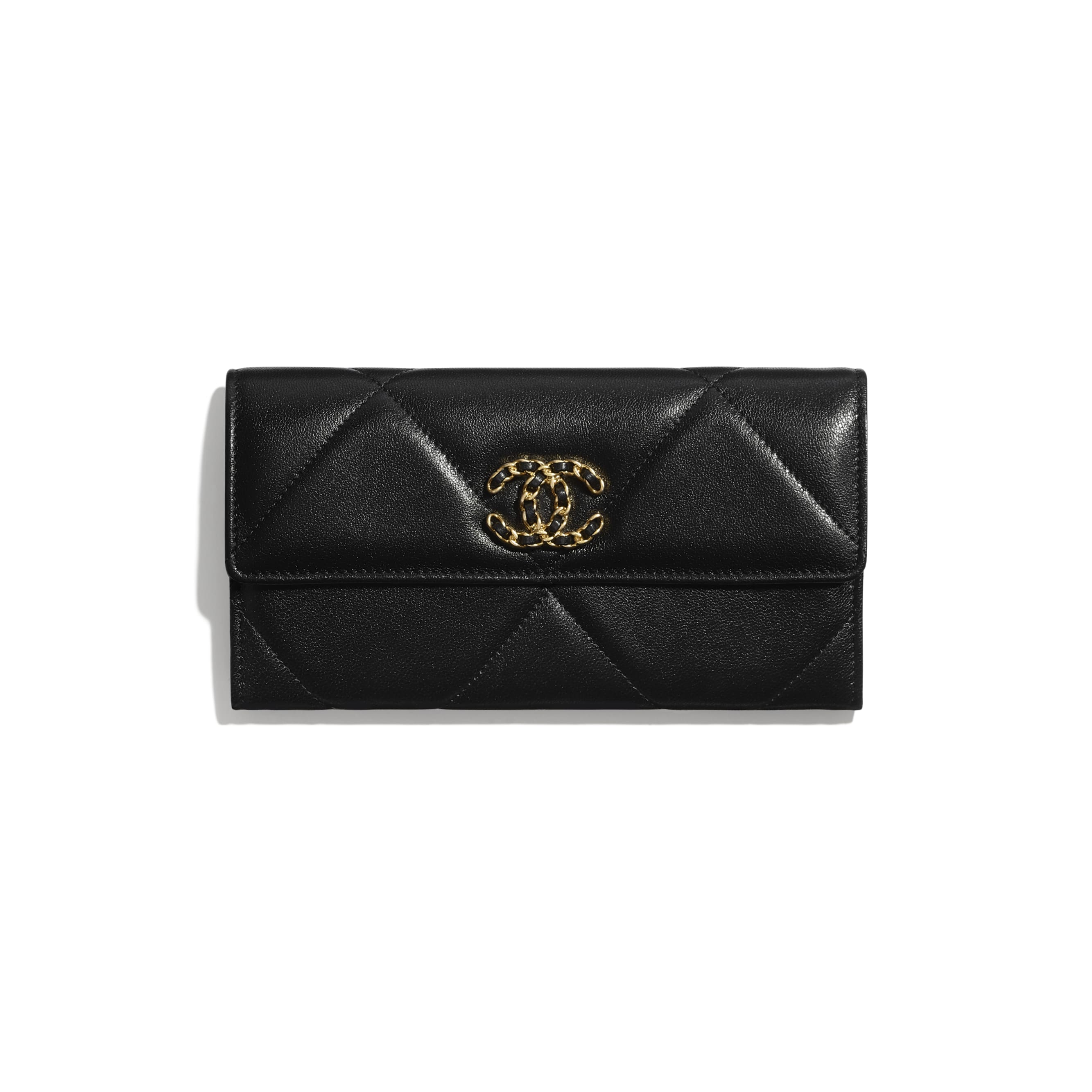 CHANEL 19 Long Flap Wallet - Black - Lambskin, Gold-Tone, Silver-Tone & Ruthenium-Finish Metal - Default view - see standard sized version