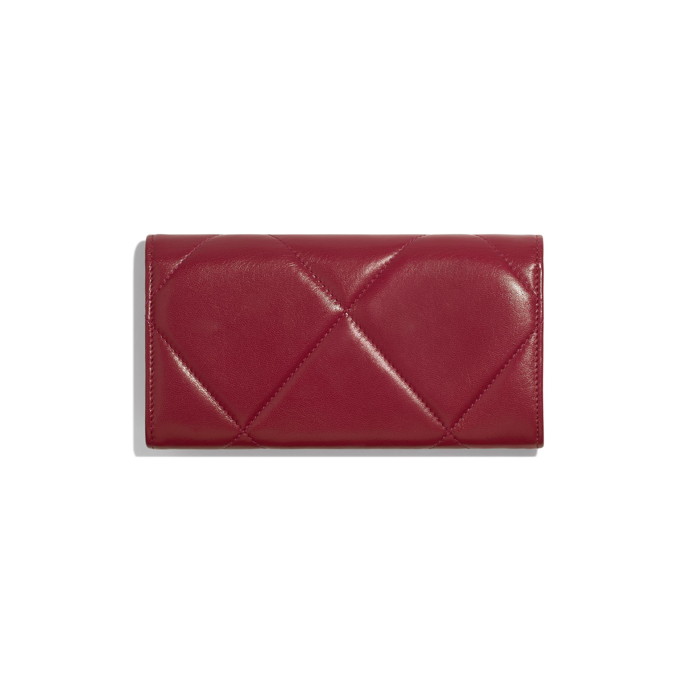 CHANEL 19 Long Flap Wallet - Dark Pink - Goatskin, Gold-Tone, Silver-Tone & Ruthenium-Finish Metal - Alternative view - see standard sized version