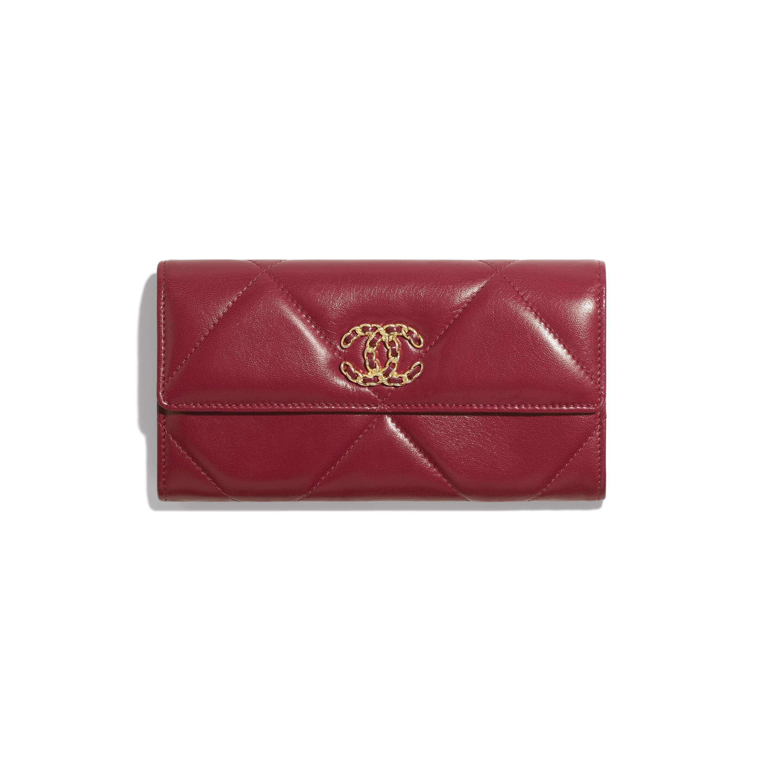 CHANEL 19 Long Flap Wallet - Dark Pink - Goatskin, Gold-Tone, Silver-Tone & Ruthenium-Finish Metal - Default view - see standard sized version
