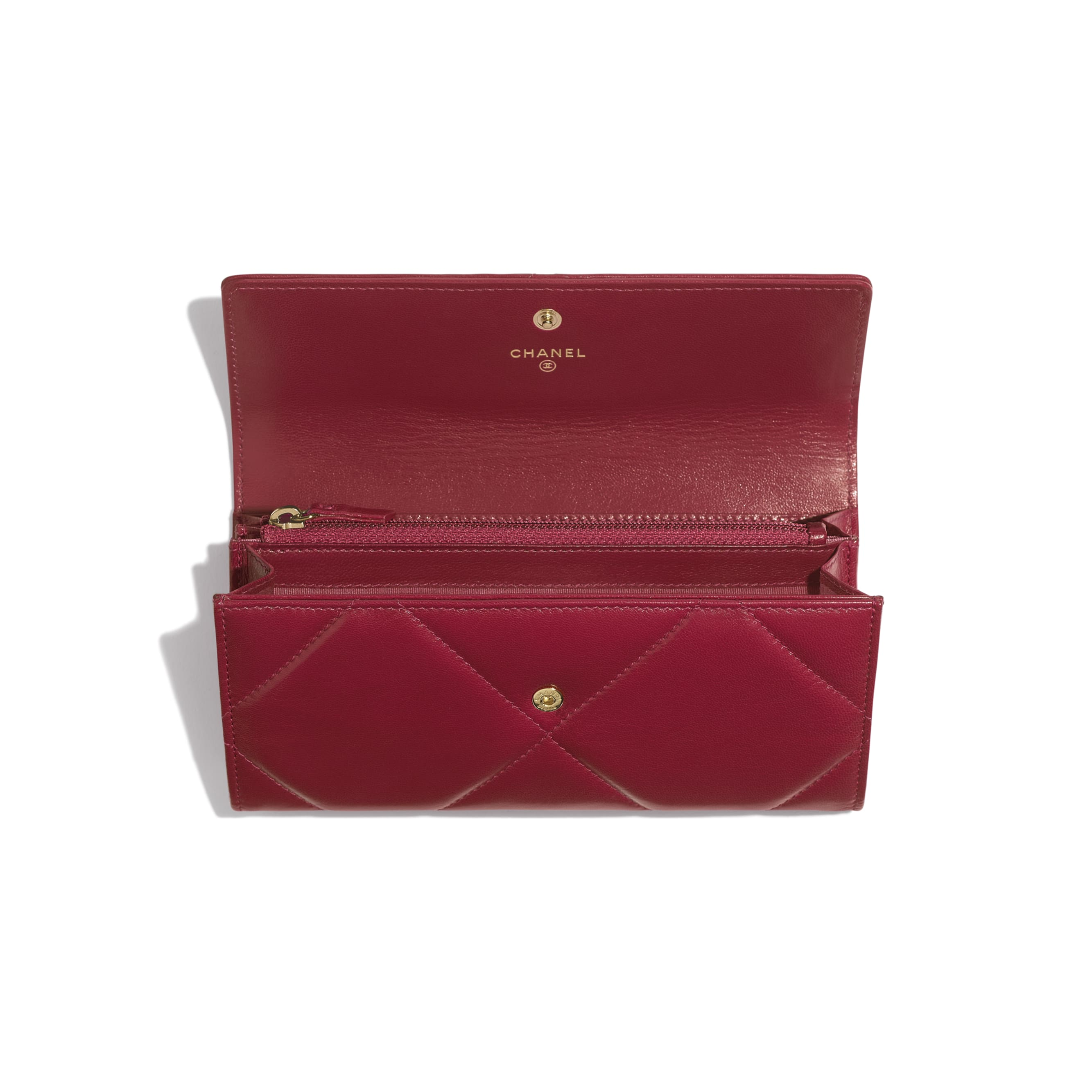 CHANEL 19 Long Flap Wallet - Dark Pink - Goatskin, Gold-Tone, Silver-Tone & Ruthenium-Finish Metal - Other view - see standard sized version
