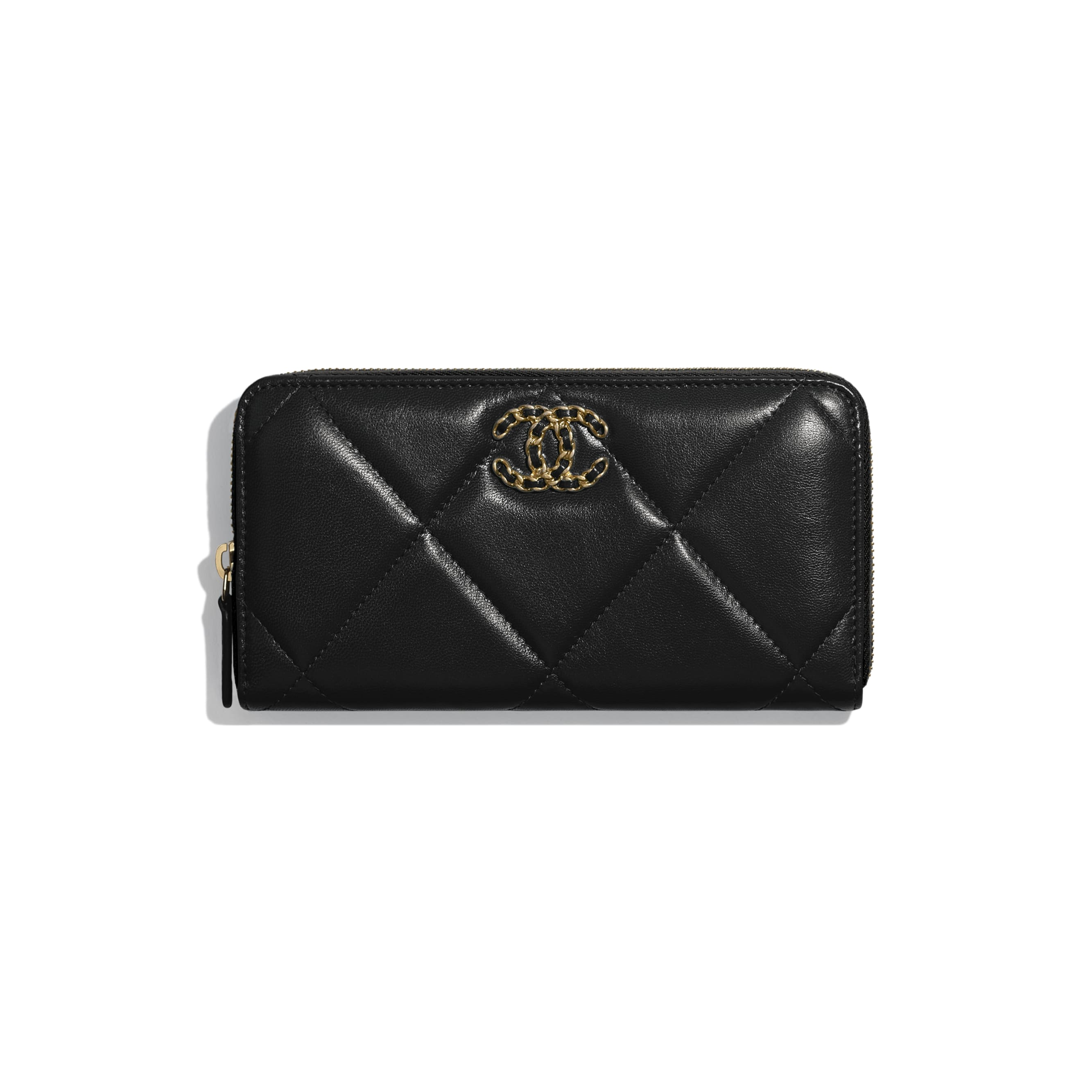 CHANEL 19 Long Zipped Wallet - Black - Goatskin, Gold-Tone, Silver-Tone & Ruthenium-Finish Metal - Default view - see standard sized version