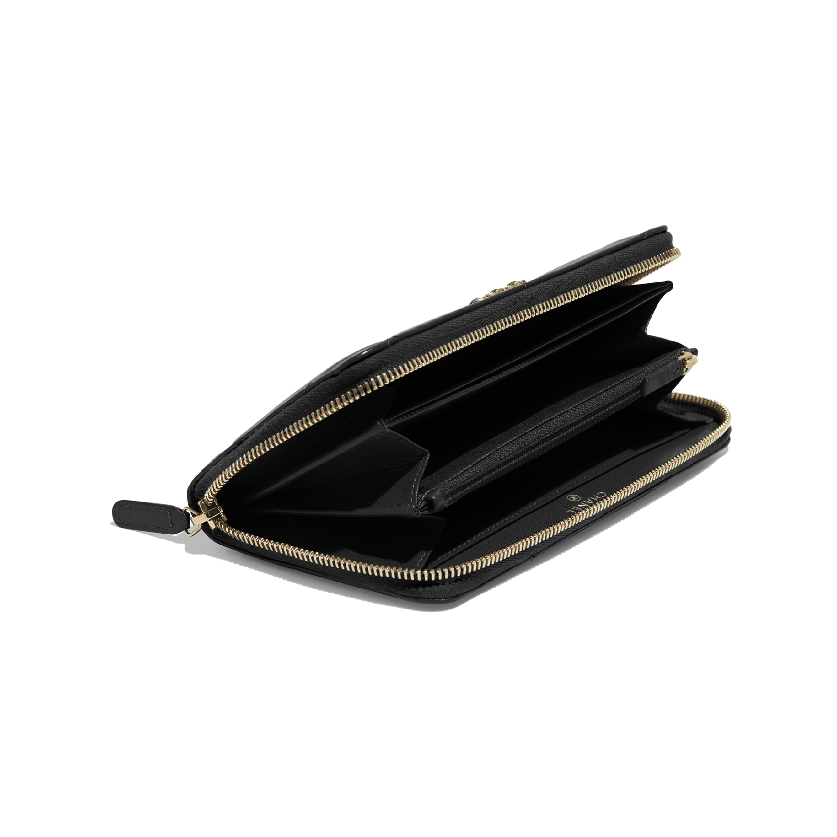 CHANEL 19 Long Zipped Wallet - Black - Goatskin, Gold-Tone, Silver-Tone & Ruthenium-Finish Metal - Extra view - see standard sized version