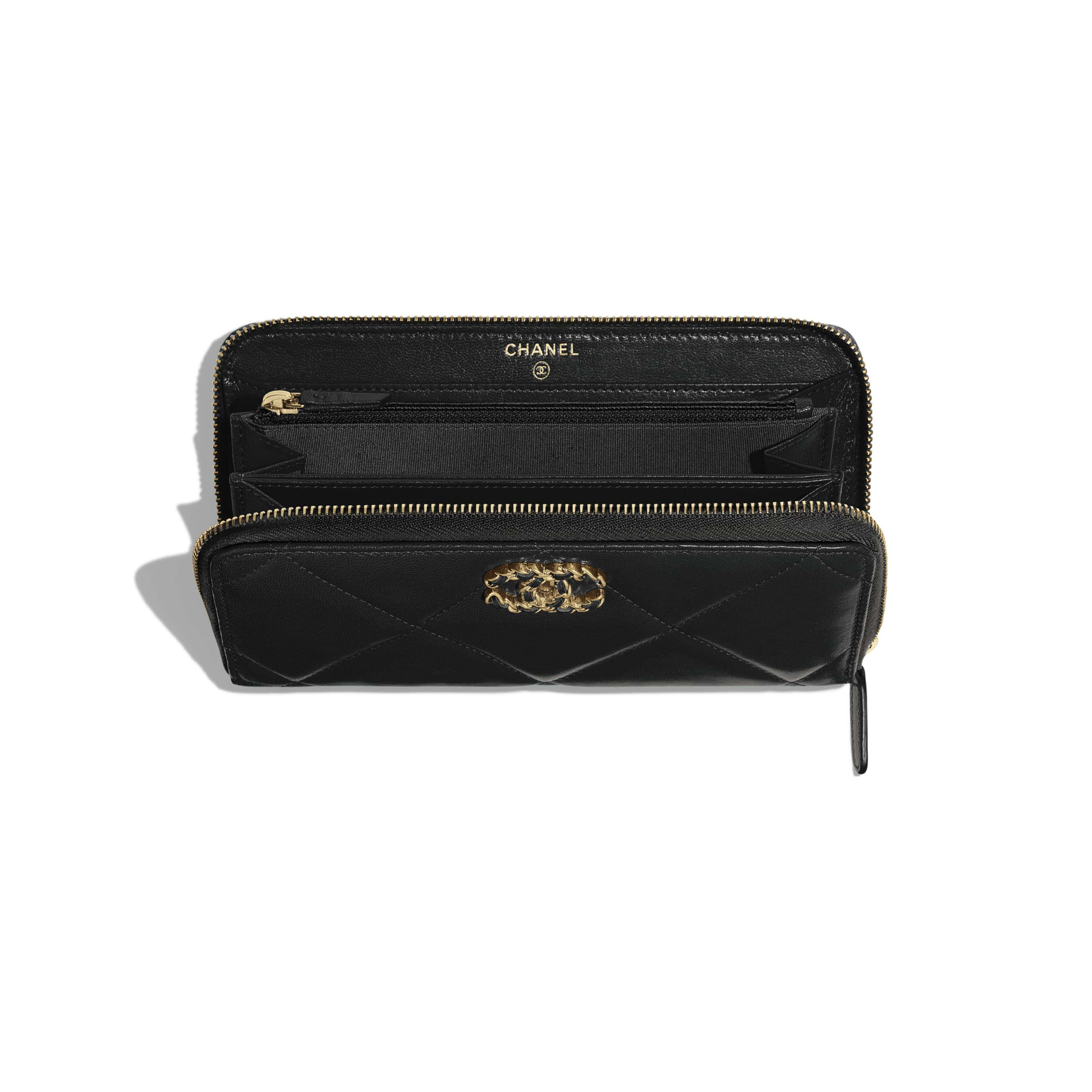 CHANEL 19 Long Zipped Wallet - Black - Goatskin, Gold-Tone, Silver-Tone & Ruthenium-Finish Metal - Other view - see standard sized version