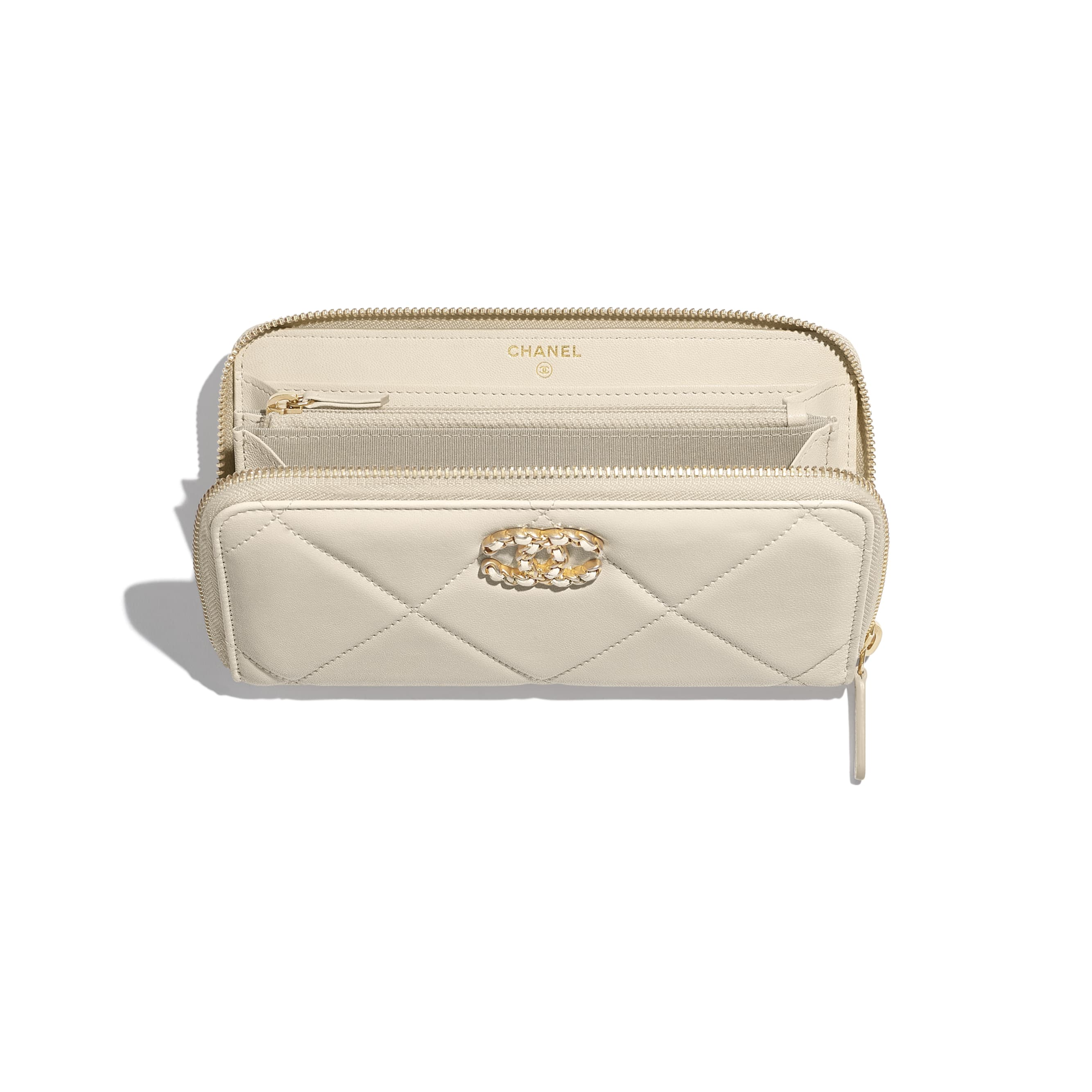 CHANEL 19 Long Zipped Wallet - Light Beige - Lambskin, Gold-Tone, Silver-Tone & Ruthenium-Finish Metal - Other view - see standard sized version