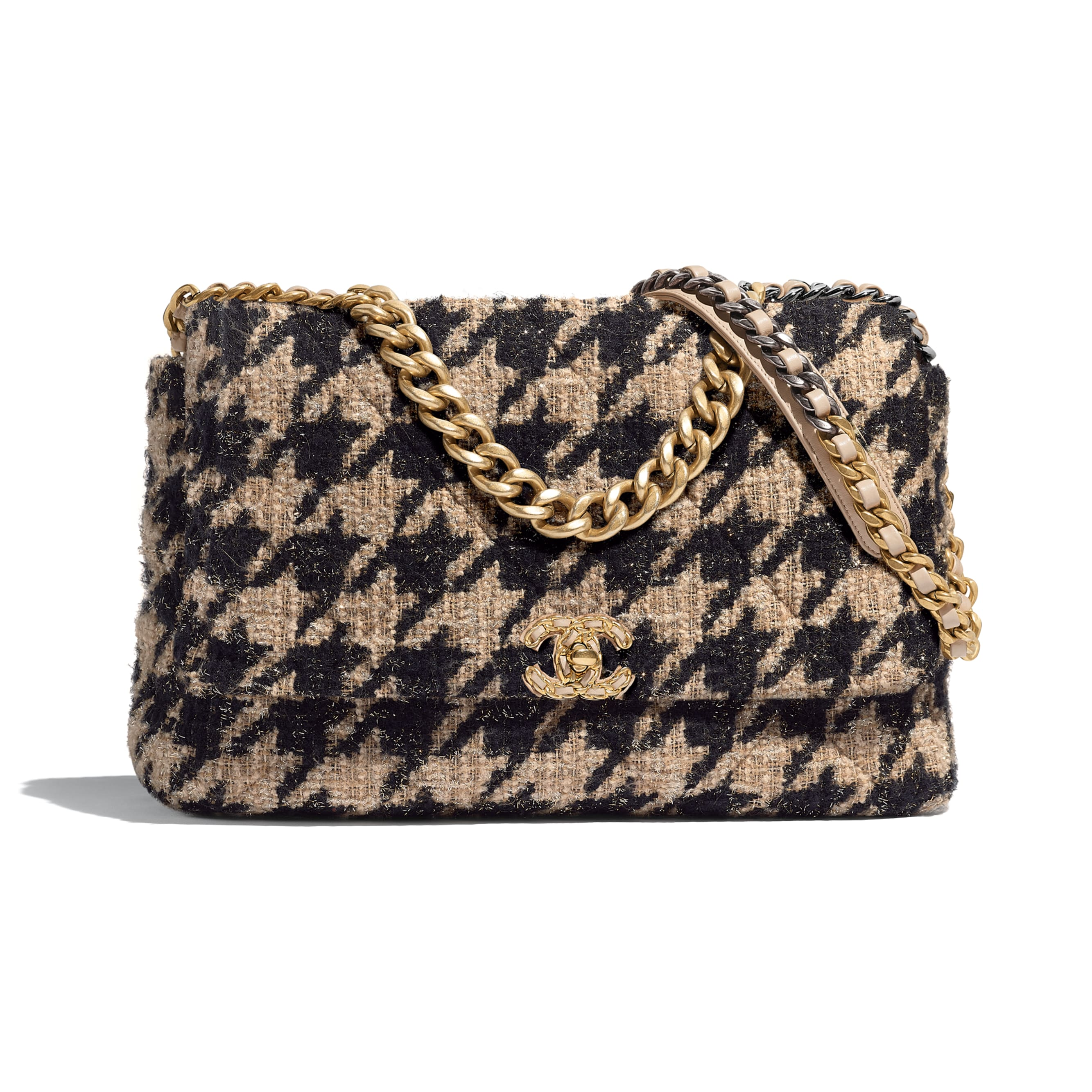CHANEL 19 Maxi Flap Bag - Beige & Black - Tweed, Gold-Tone, Silver-Tone & Ruthenium-Finish Metal - Default view - see standard sized version