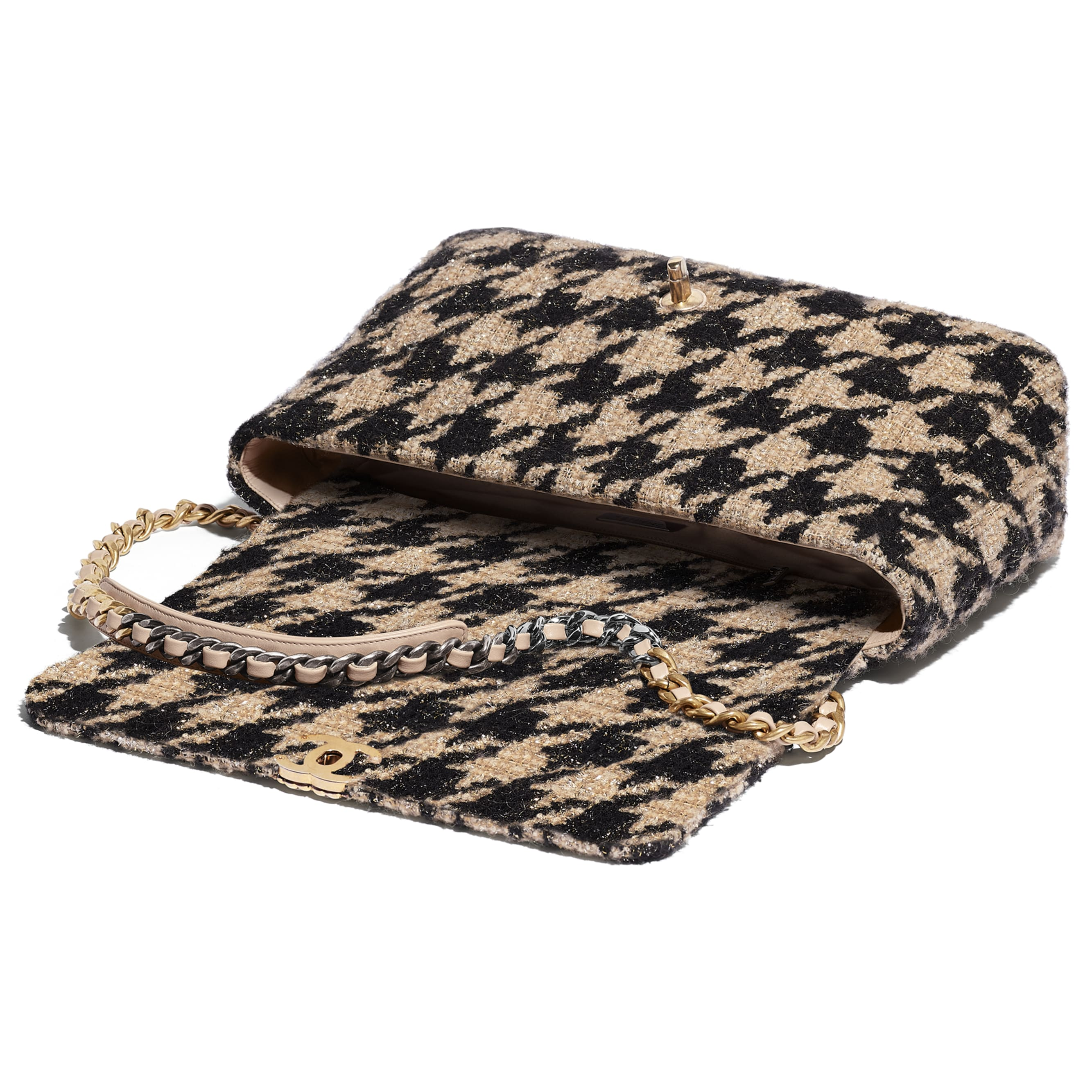 CHANEL 19 Maxi Flap Bag - Beige & Black - Tweed, Gold-Tone, Silver-Tone & Ruthenium-Finish Metal - Other view - see standard sized version