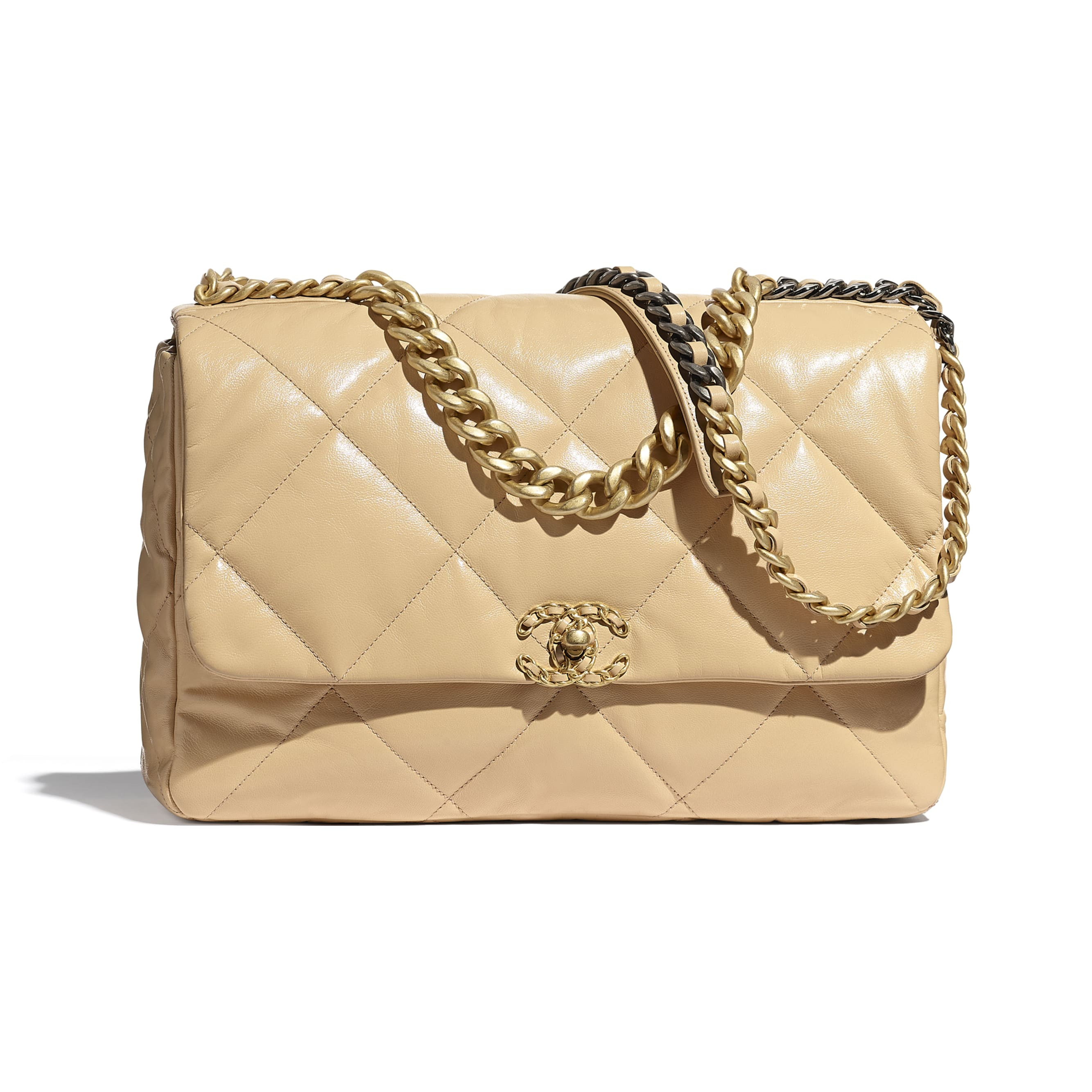 CHANEL 19 Maxi Flap Bag - Beige - Shiny Goatskin, Gold-Tone, Silver-Tone & Ruthenium-Finish Metal - CHANEL - Default view - see standard sized version