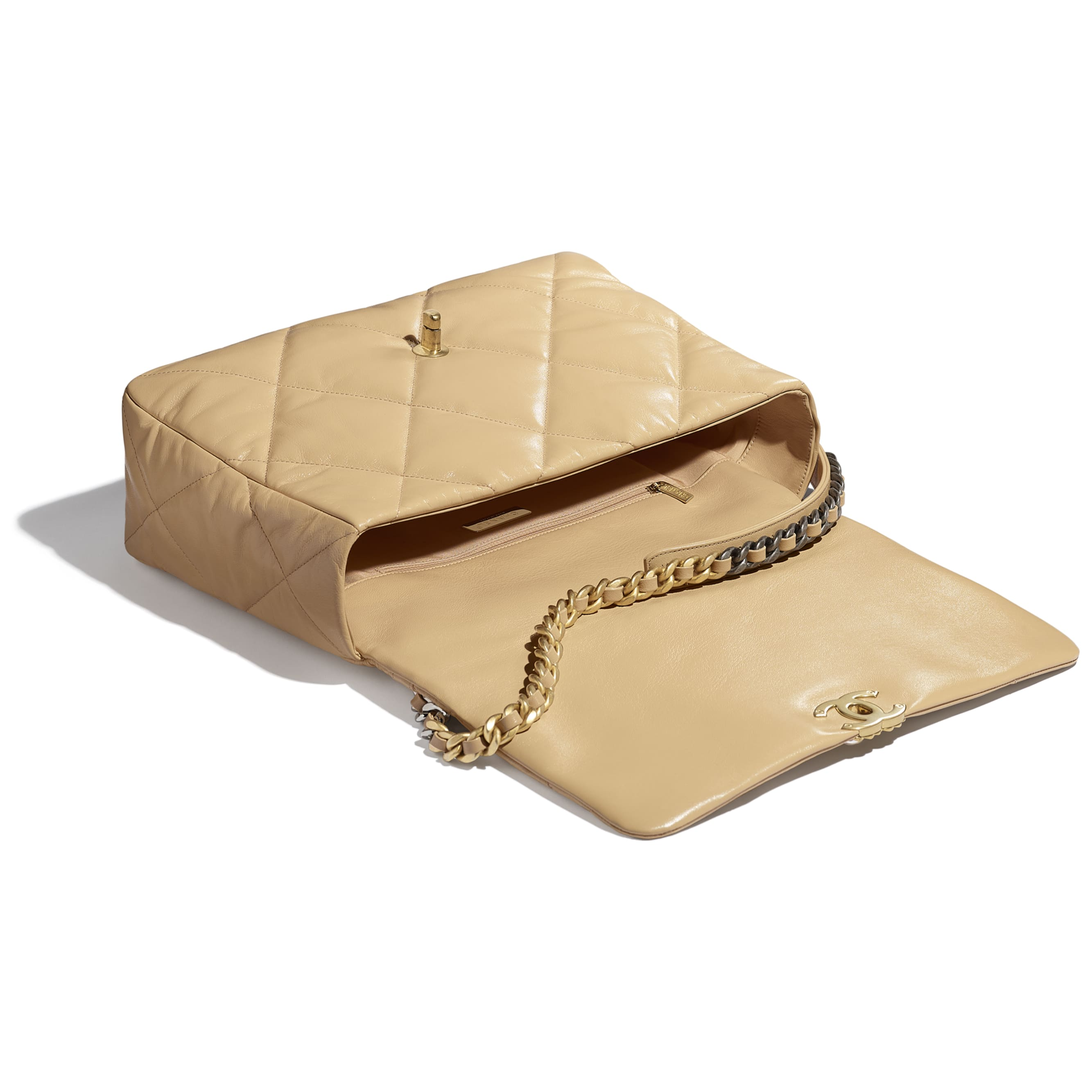 CHANEL 19 Maxi Flap Bag - Beige - Shiny Goatskin, Gold-Tone, Silver-Tone & Ruthenium-Finish Metal - CHANEL - Other view - see standard sized version