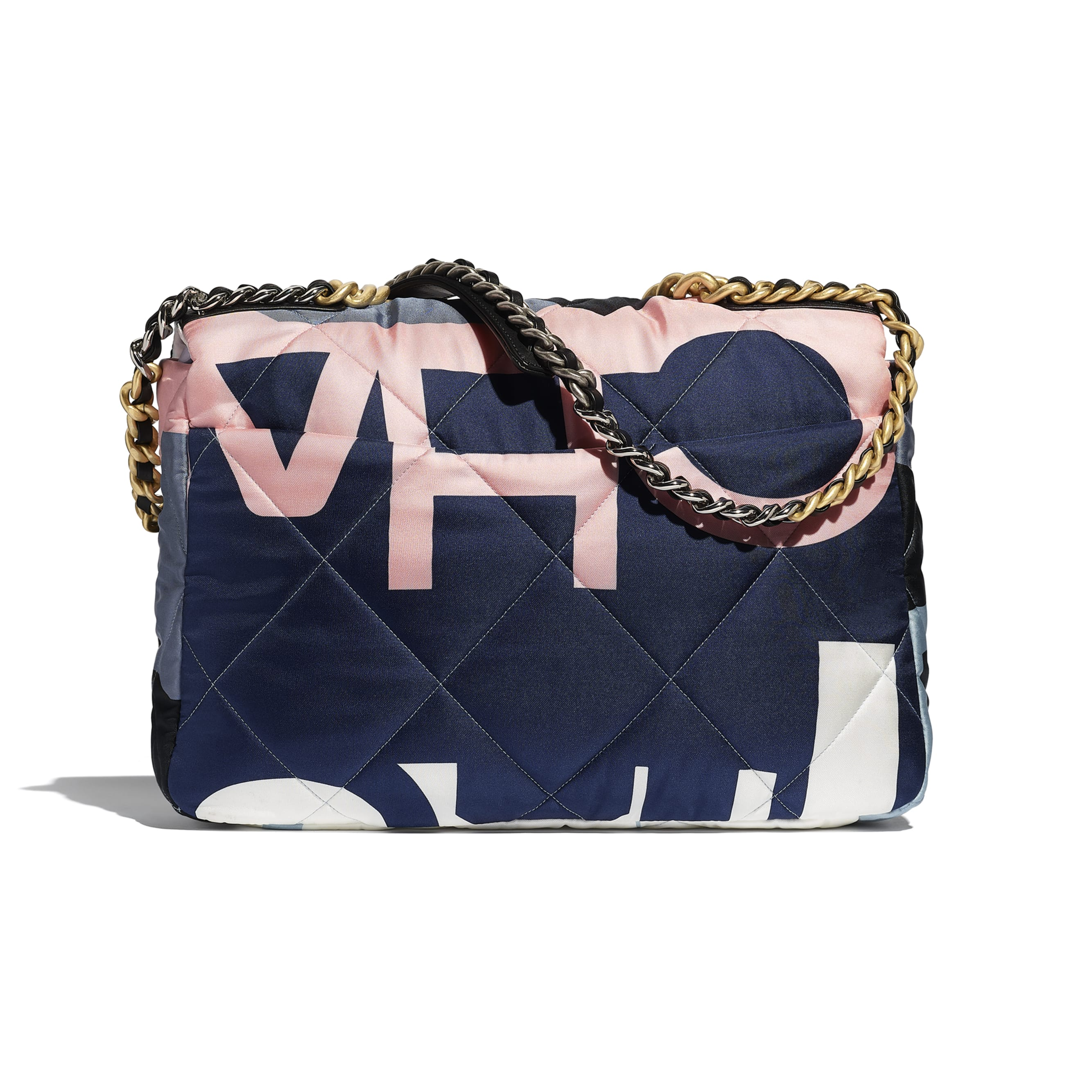 CHANEL 19 Maxi Flap Bag - Black, Blue, Pink & White - Printed Silk, Gold-Tone, Silver-Tone & Ruthenium-Finish Metal - Alternative view - see standard sized version