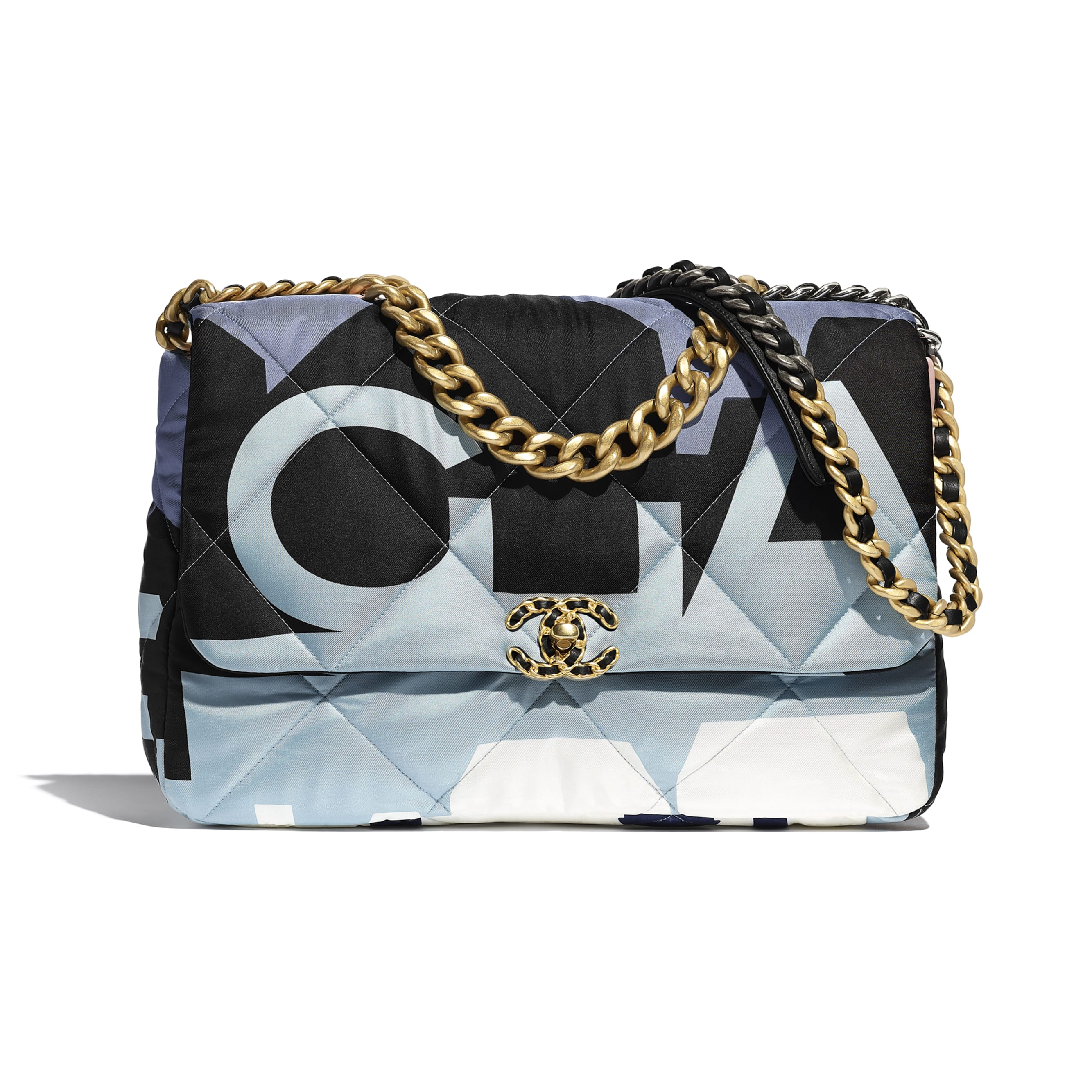 CHANEL 19 Maxi Flap Bag - Black, Blue, Pink & White - Printed Silk, Gold-Tone, Silver-Tone & Ruthenium-Finish Metal - Default view - see standard sized version