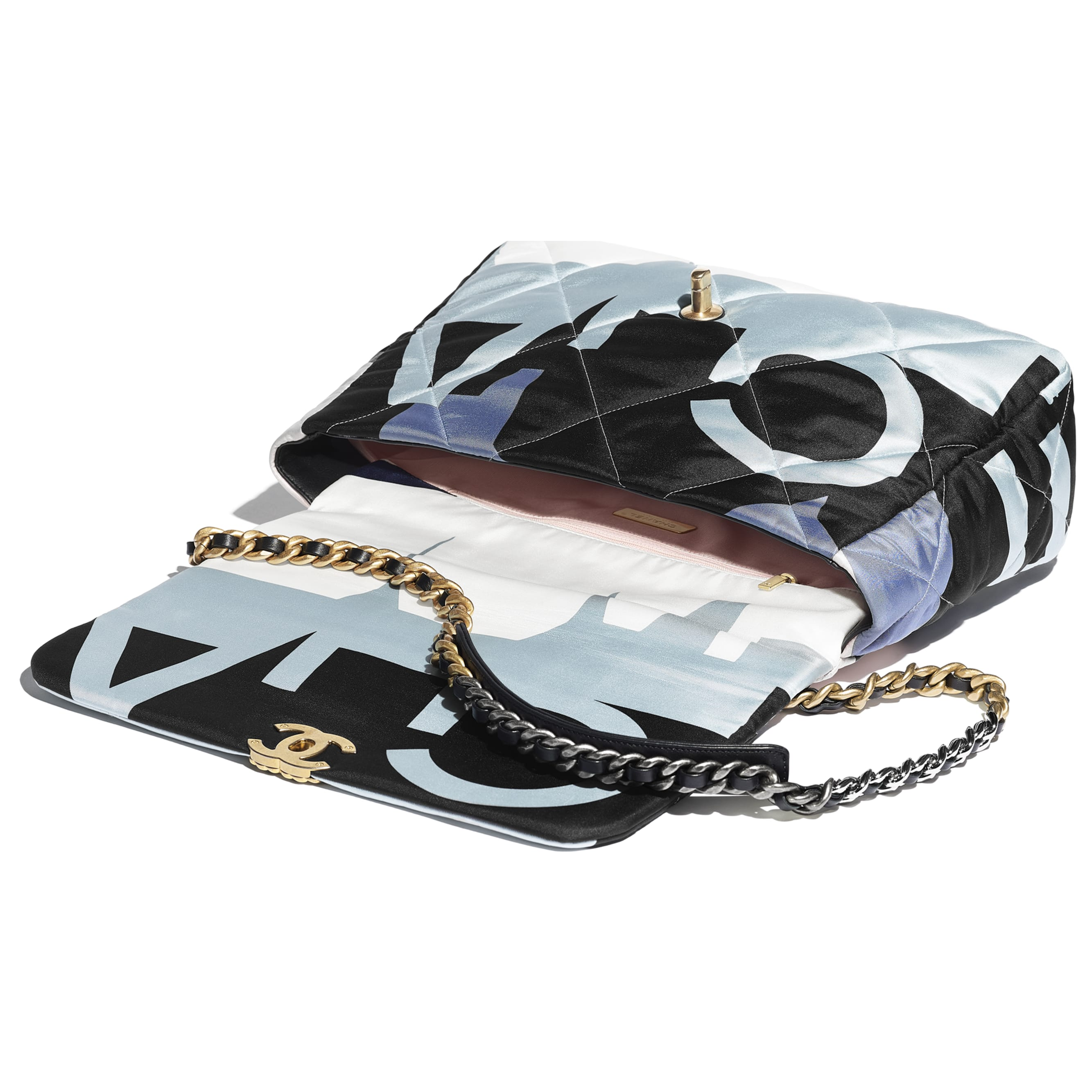 CHANEL 19 Maxi Flap Bag - Black, Blue, Pink & White - Printed Silk, Gold-Tone, Silver-Tone & Ruthenium-Finish Metal - Other view - see standard sized version