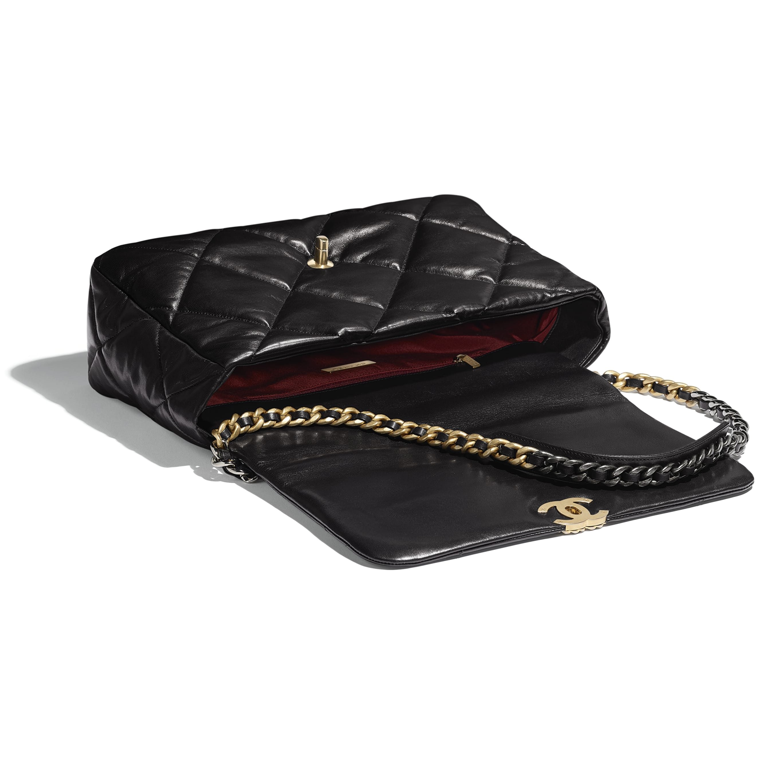 CHANEL 19 Maxi Flap Bag - Black - Goatskin, Gold-Tone, Silver-Tone & Ruthenium-Finish Metal - Other view - see standard sized version