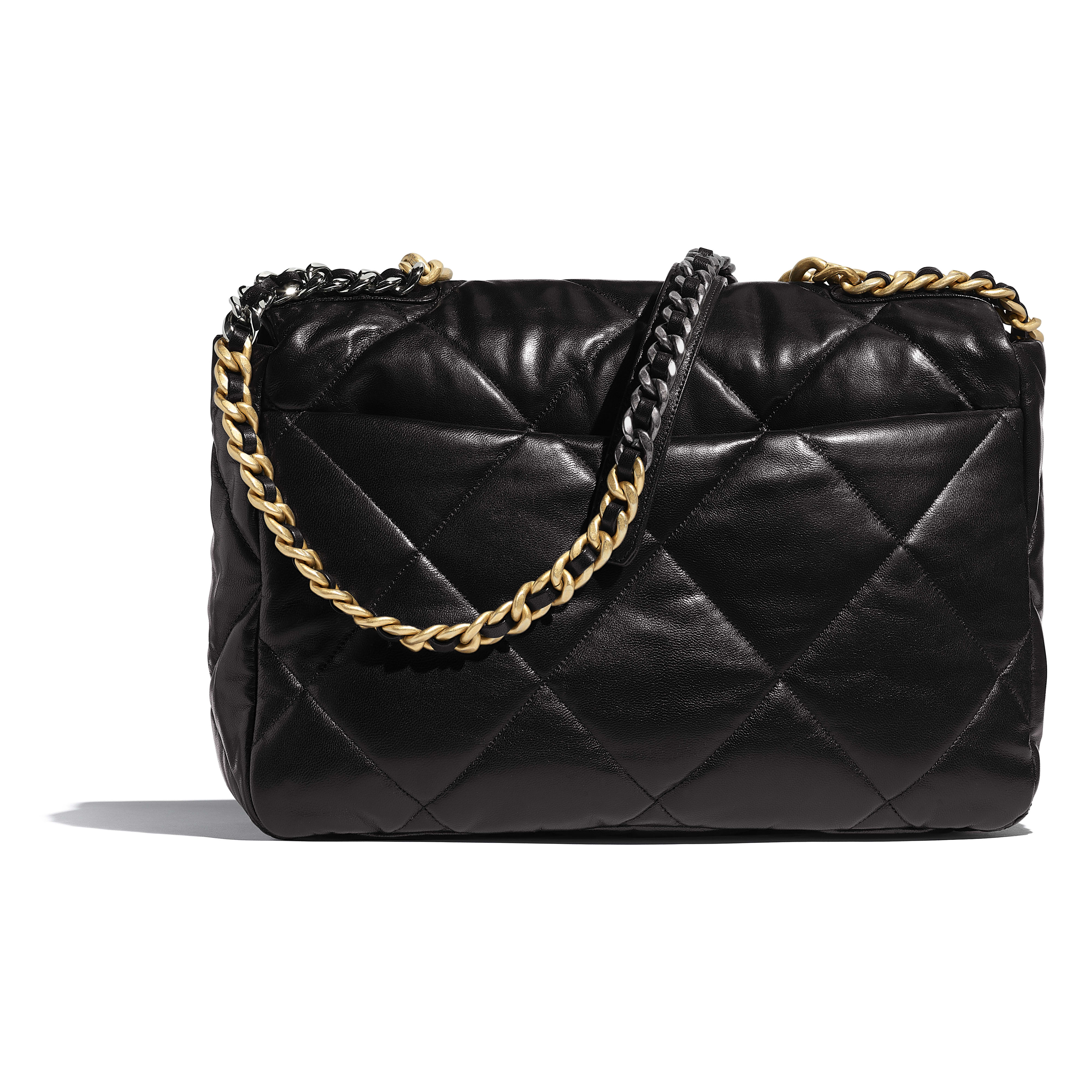 CHANEL 19 Maxi Flap Bag - Black - Lambskin, Gold-Tone, Silver-Tone & Ruthenium-Finish Metal - CHANEL - Alternative view - see standard sized version