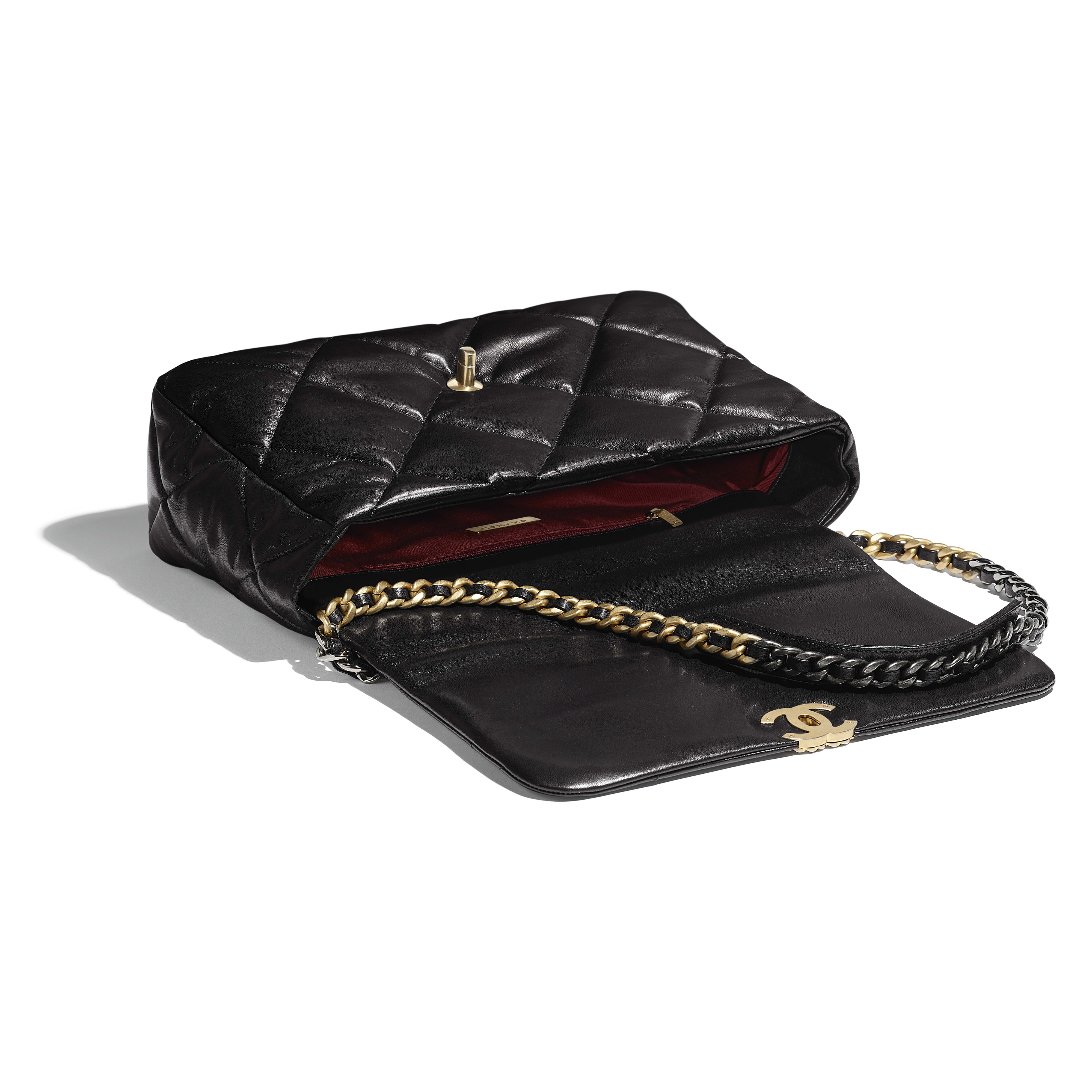CHANEL 19 Maxi Flap Bag - Black - Lambskin, Gold-Tone, Silver-Tone & Ruthenium-Finish Metal - CHANEL - Other view - see standard sized version