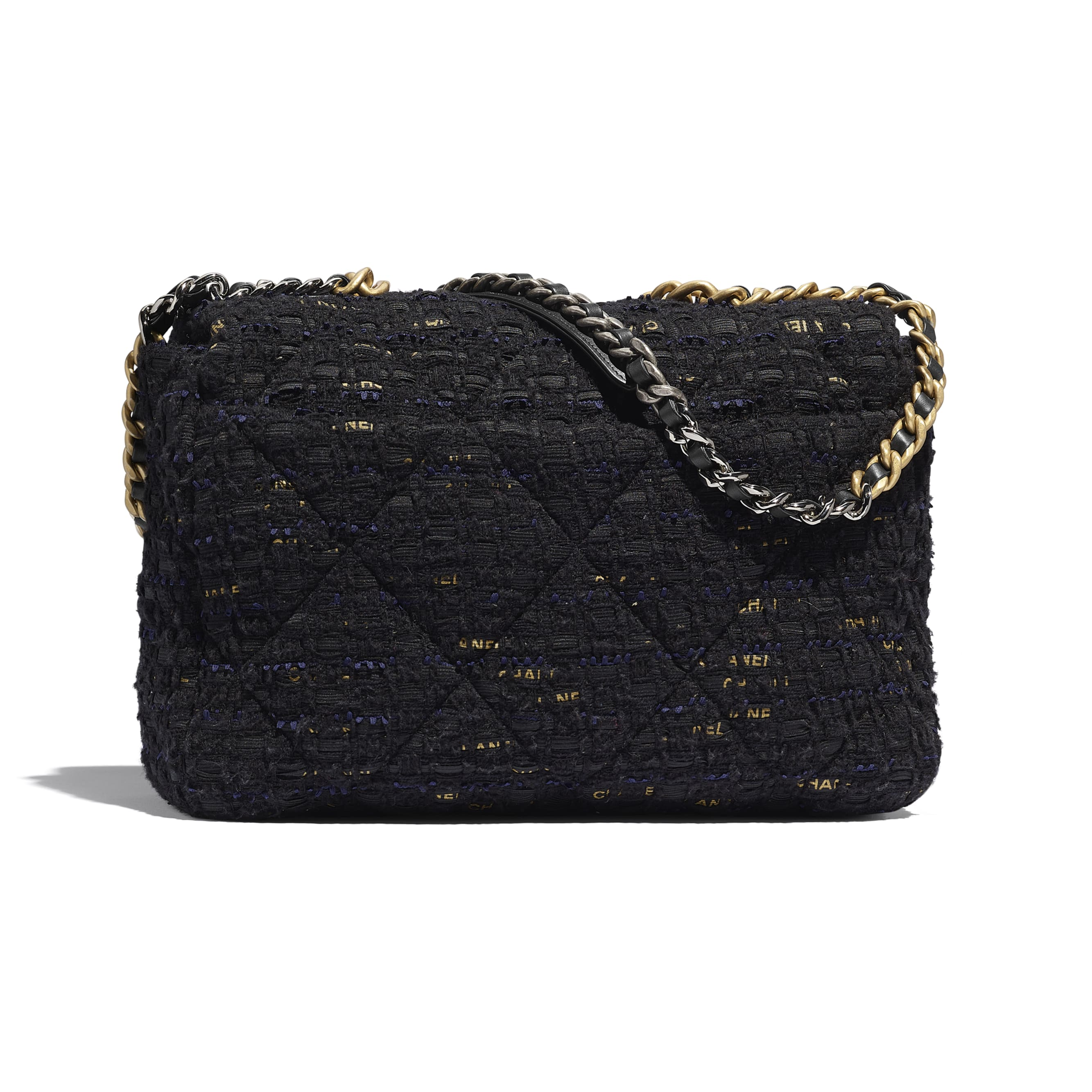 CHANEL 19 Maxi Flap Bag - Black, Navy Blue & Gold - Tweed, Gold-Tone, Silver-Tone & Ruthenium-Finish Metal - CHANEL - Alternative view - see standard sized version