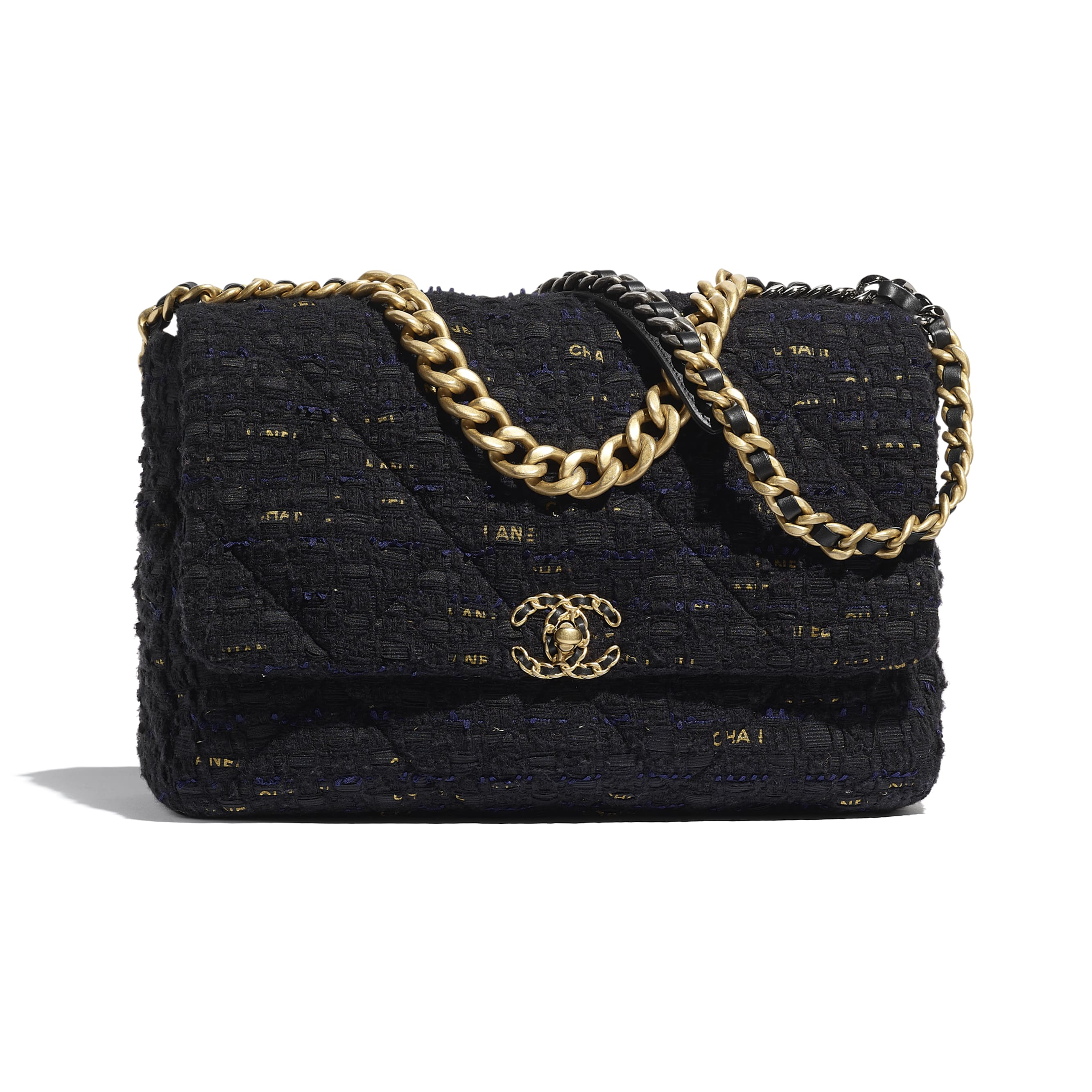 CHANEL 19 Maxi Flap Bag - Black, Navy Blue & Gold - Tweed, Gold-Tone, Silver-Tone & Ruthenium-Finish Metal - CHANEL - Default view - see standard sized version