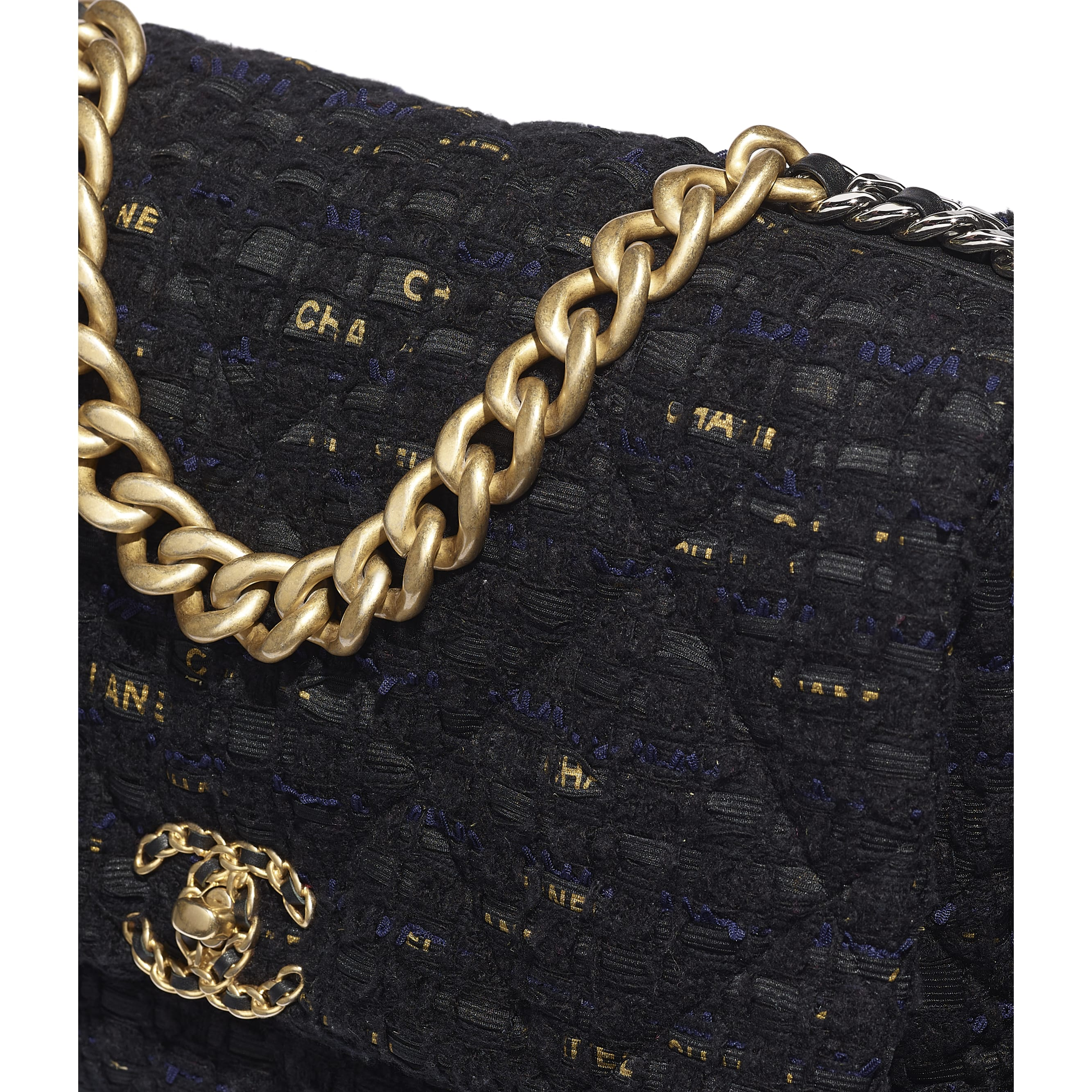 CHANEL 19 Maxi Flap Bag - Black, Navy Blue & Gold - Tweed, Gold-Tone, Silver-Tone & Ruthenium-Finish Metal - CHANEL - Extra view - see standard sized version